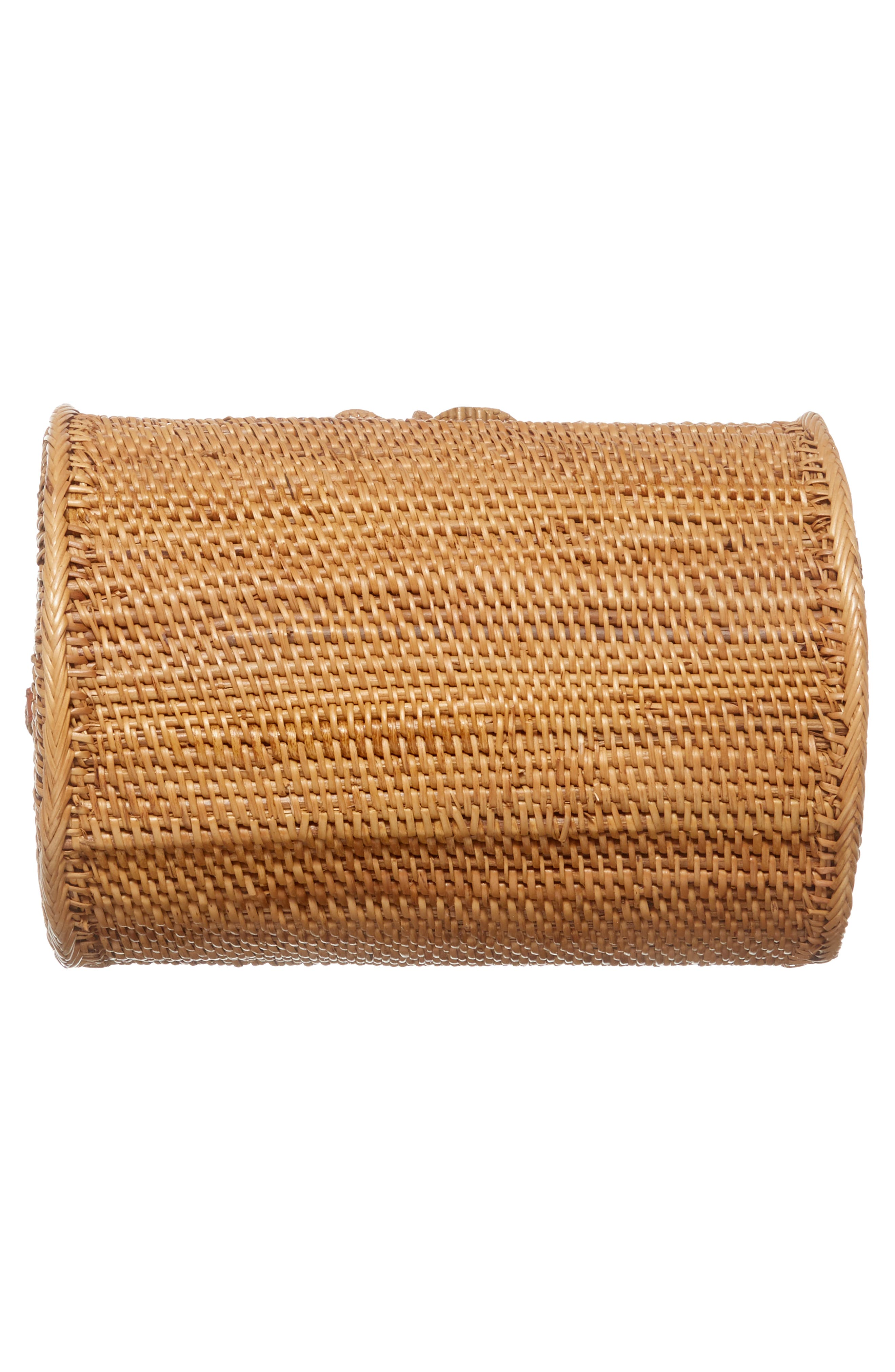 Cylinder Woven Crossbody Bag,                             Alternate thumbnail 6, color,                             Tan
