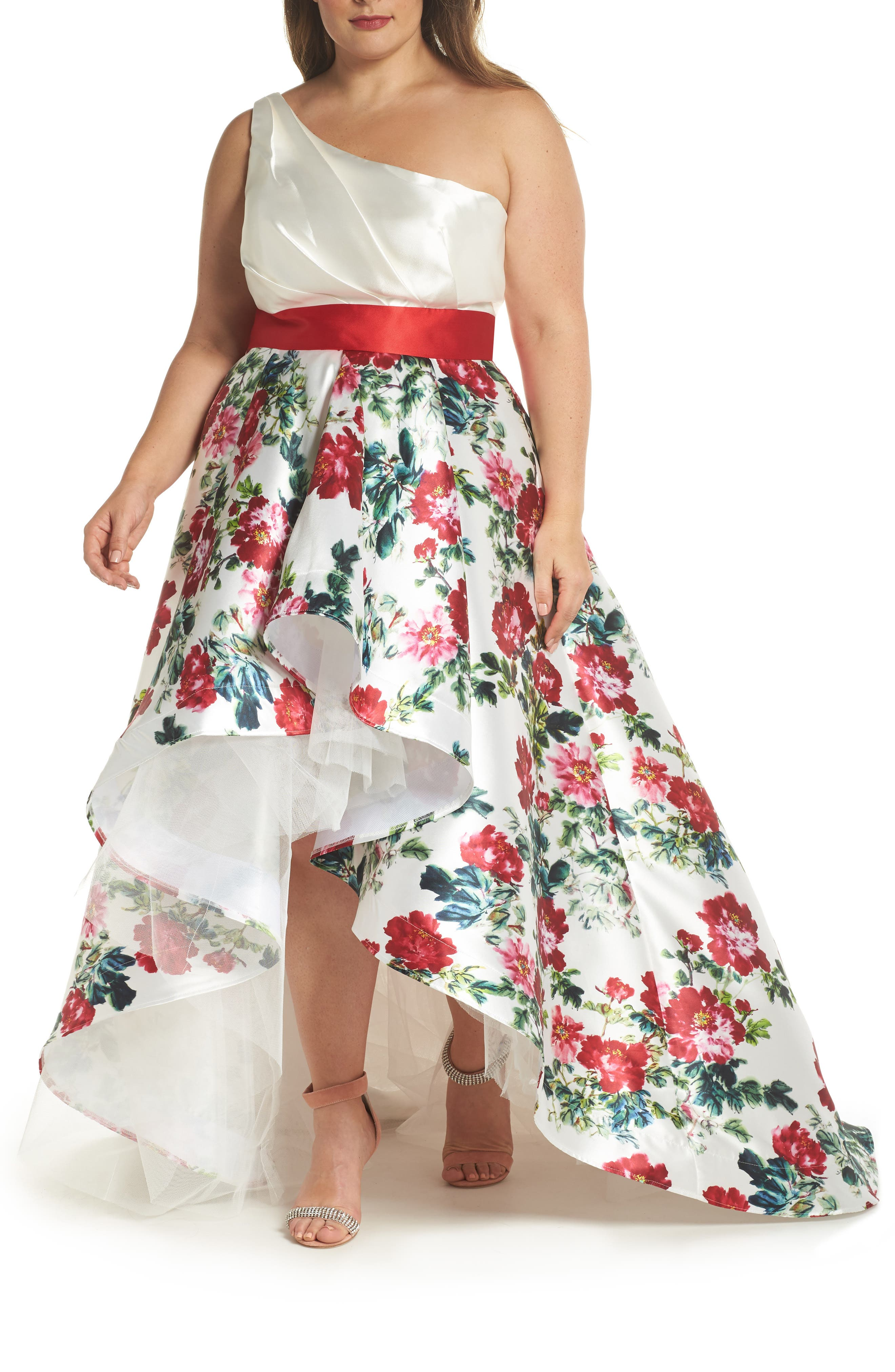 One-Shoulder High/Low Gown,                             Main thumbnail 1, color,                             White/ Multi