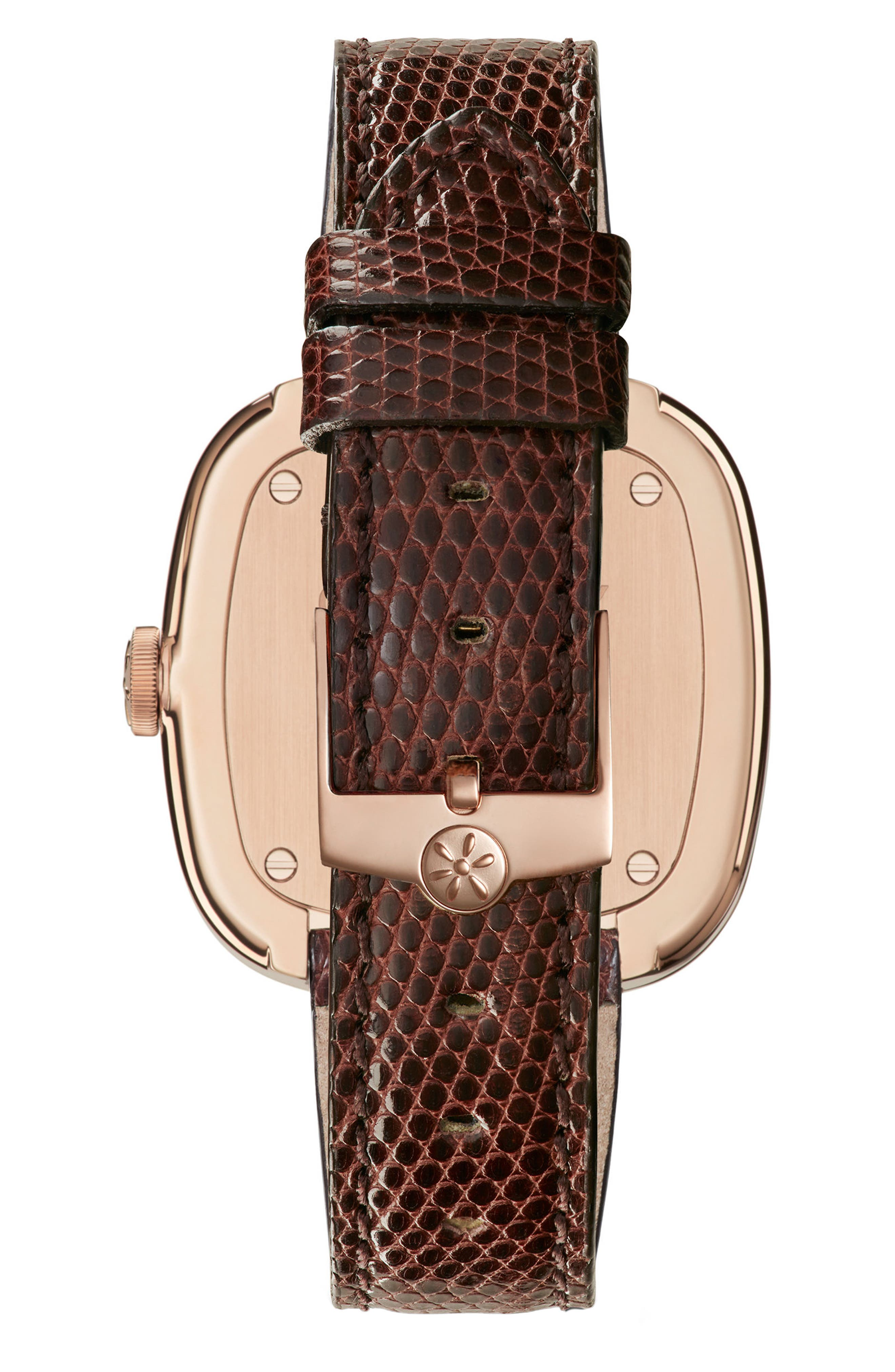 The Eppie Sneed Leather Strap Watch, 32mm,                             Alternate thumbnail 2, color,                             Dark Brown/ Mop/ Gold