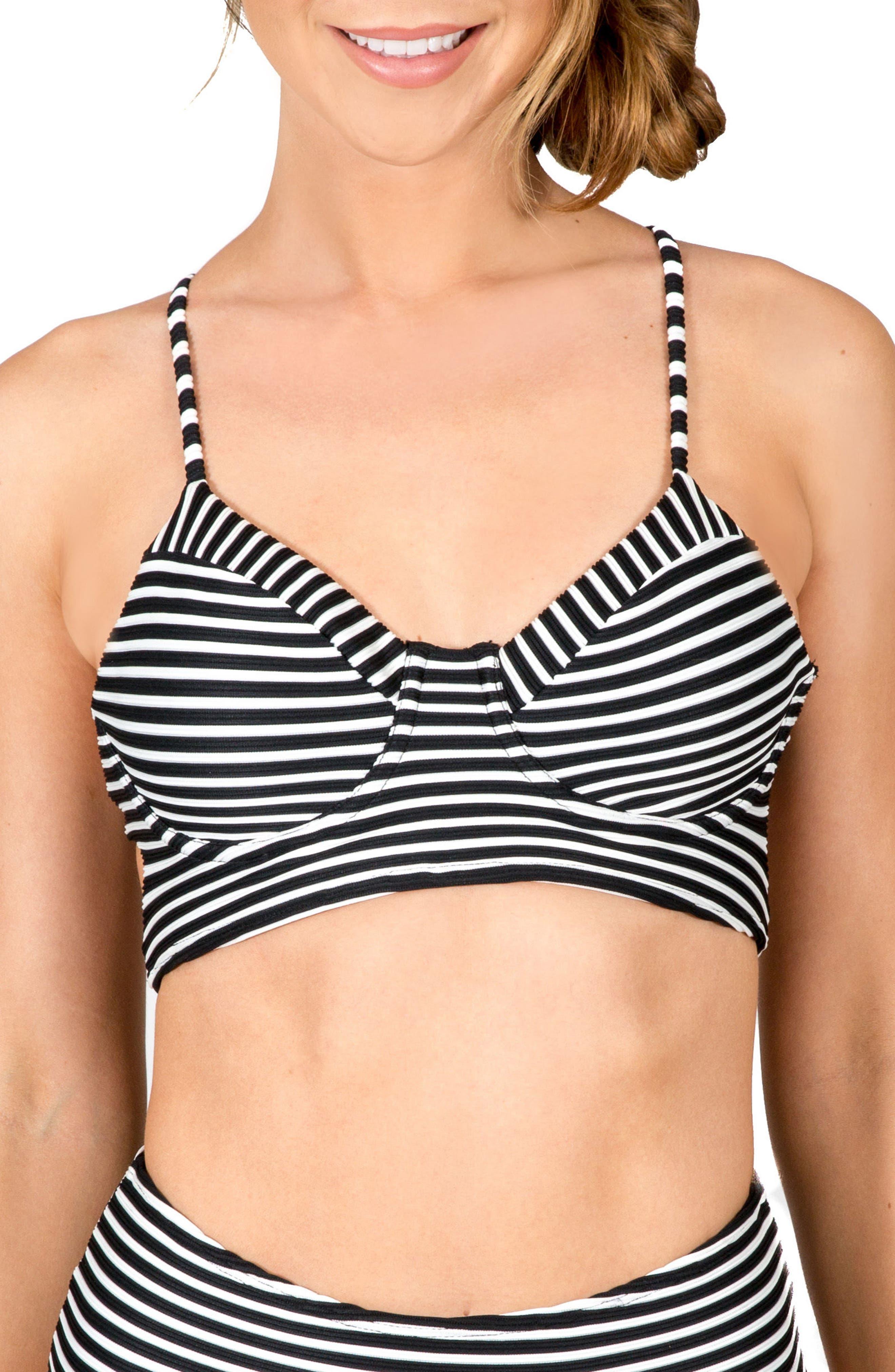 Elisa Lace-Up Underwire Bikini Top,                         Main,                         color, Black White Stripe