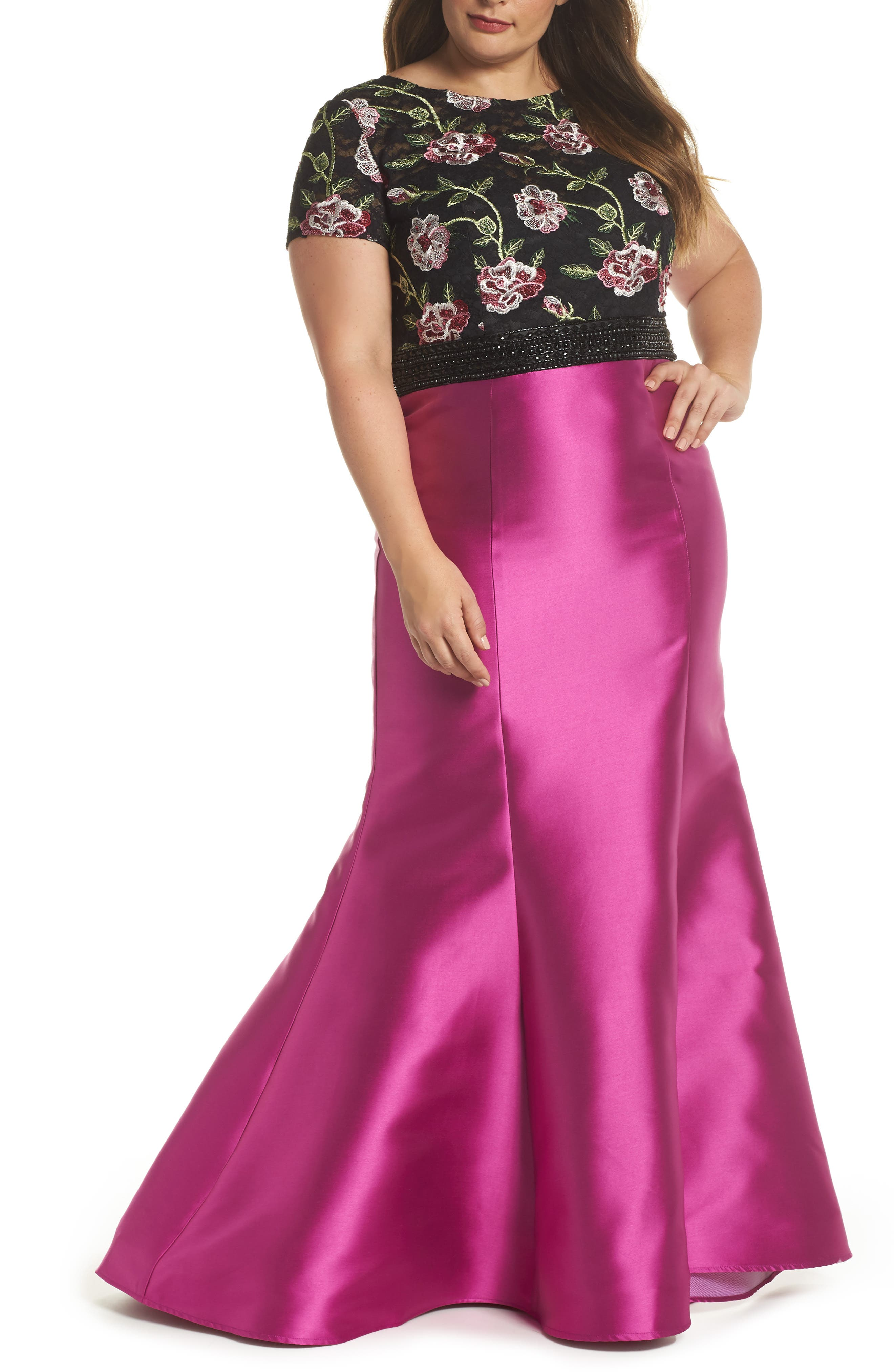 Embroidered Mermaid Gown,                         Main,                         color, Magenta