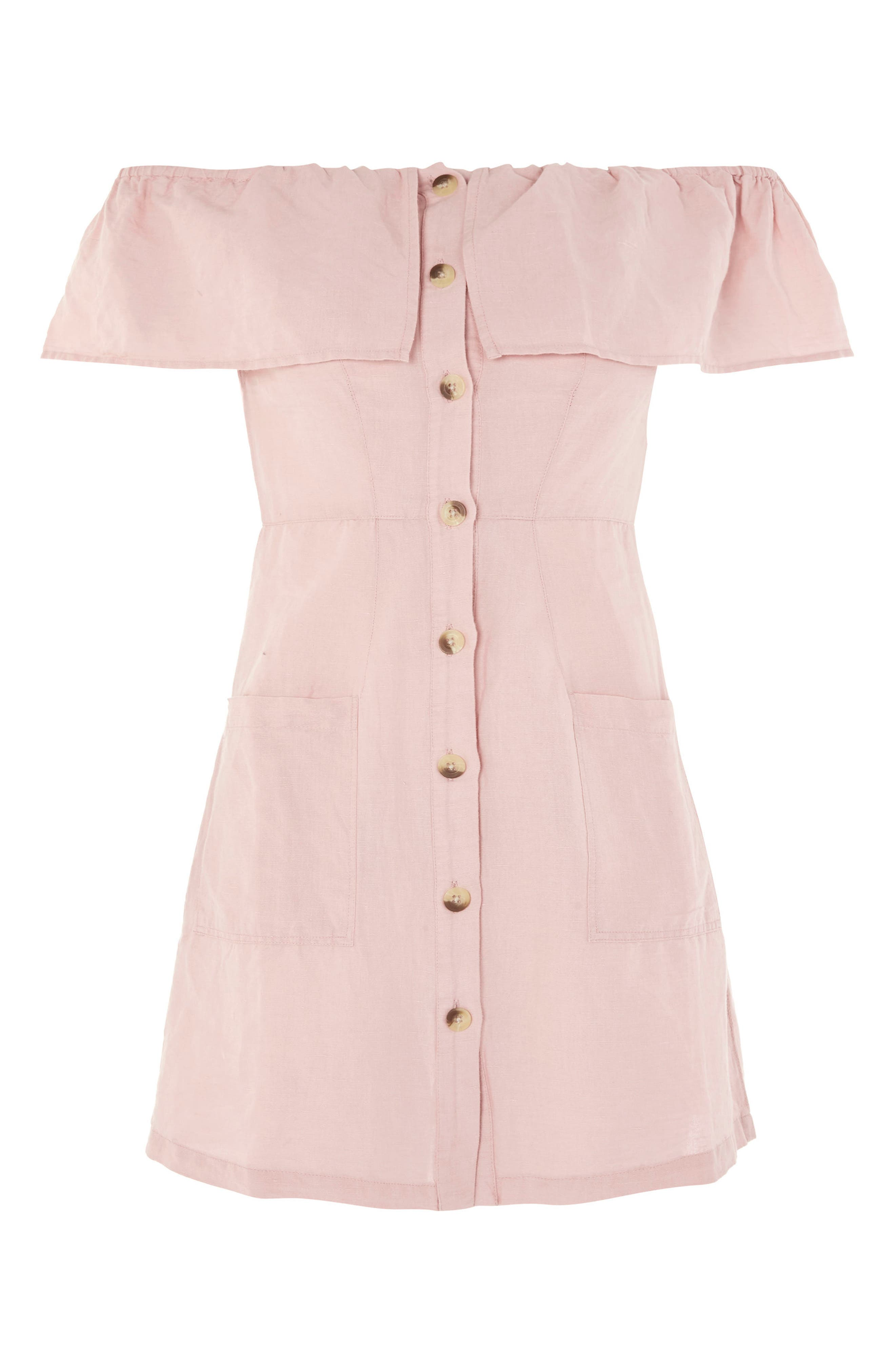 Off the Shoulder Button Front Minidress,                             Alternate thumbnail 3, color,                             Pink