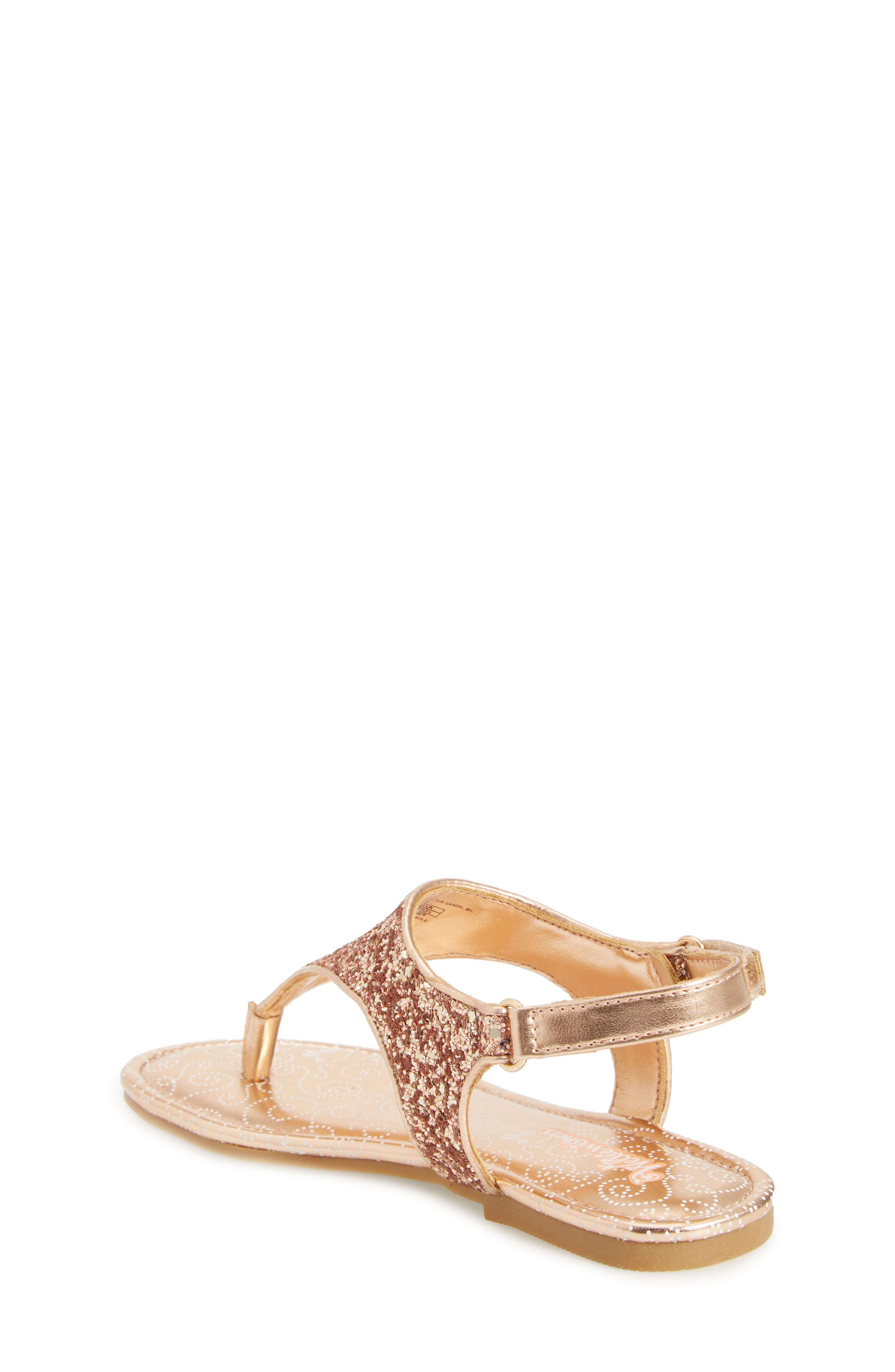 Camille Glitter Thong Sandal,                             Alternate thumbnail 2, color,                             Rose Gold