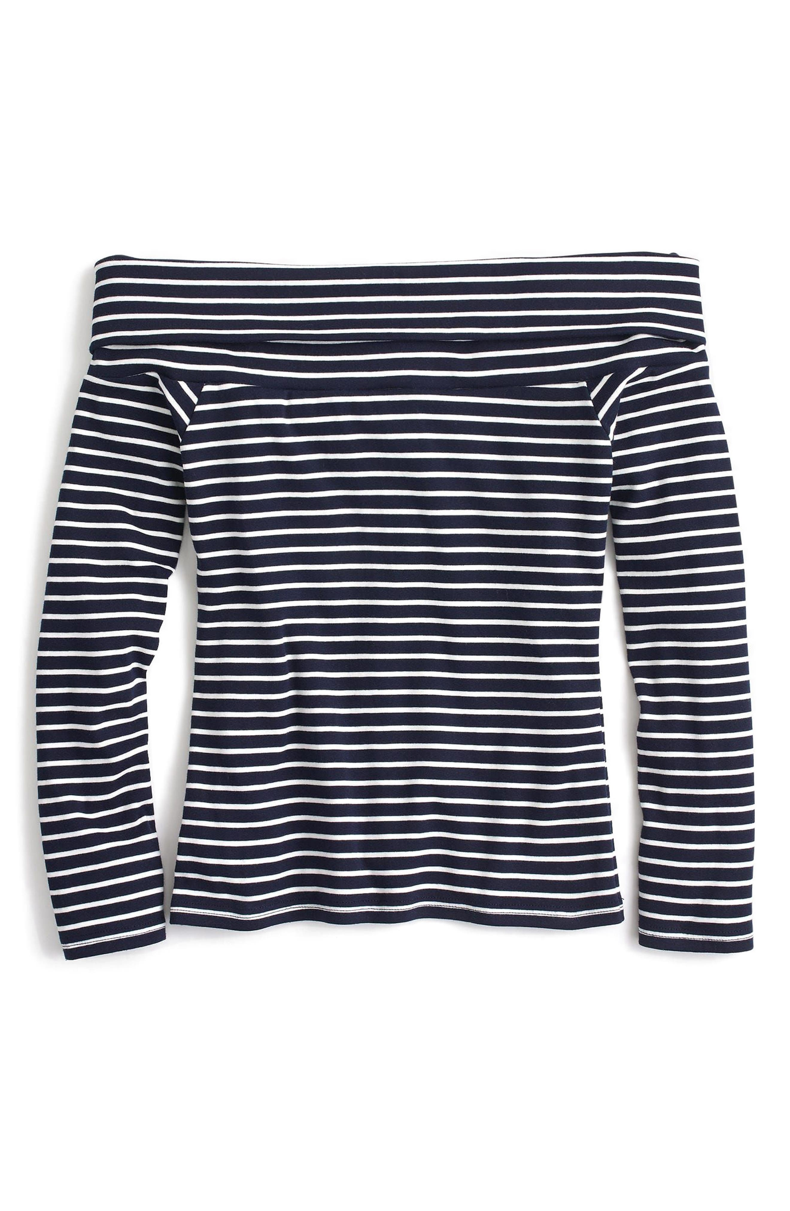 Off-the-Shoulder Foldover Stripe Top,                             Alternate thumbnail 3, color,                             Navy White