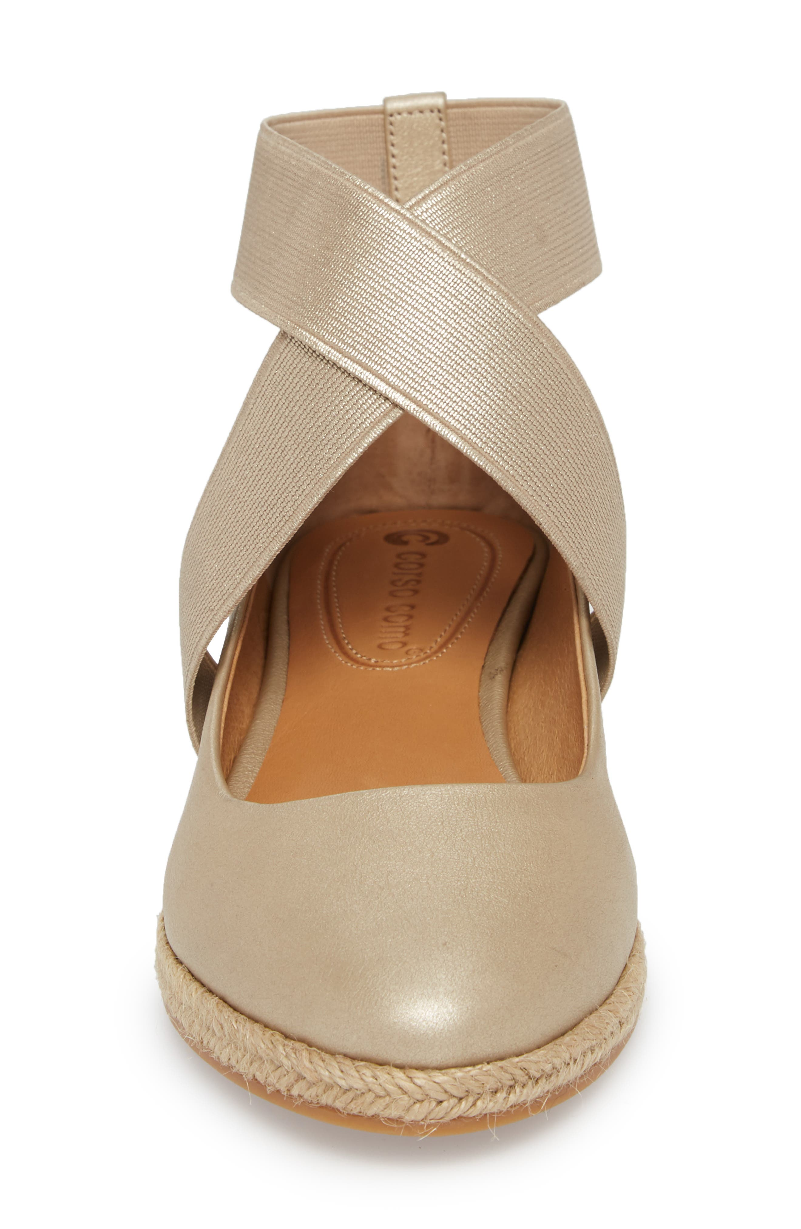 Bellah Espadrille Wedge,                             Alternate thumbnail 4, color,                             Soft Gold Leather
