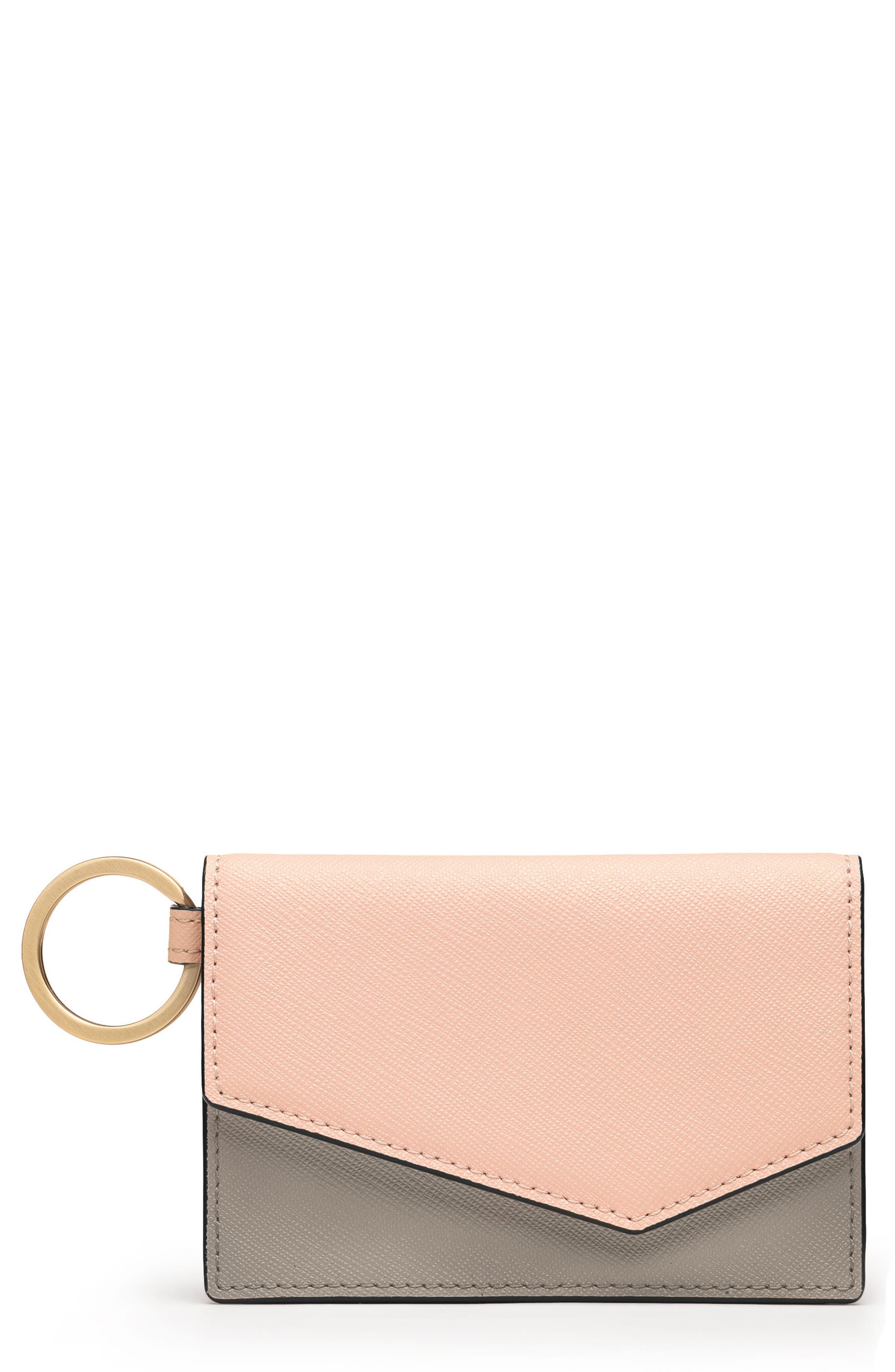 Cobble Hill Saffiano Leather Card Case,                         Main,                         color, Peach Colorblock