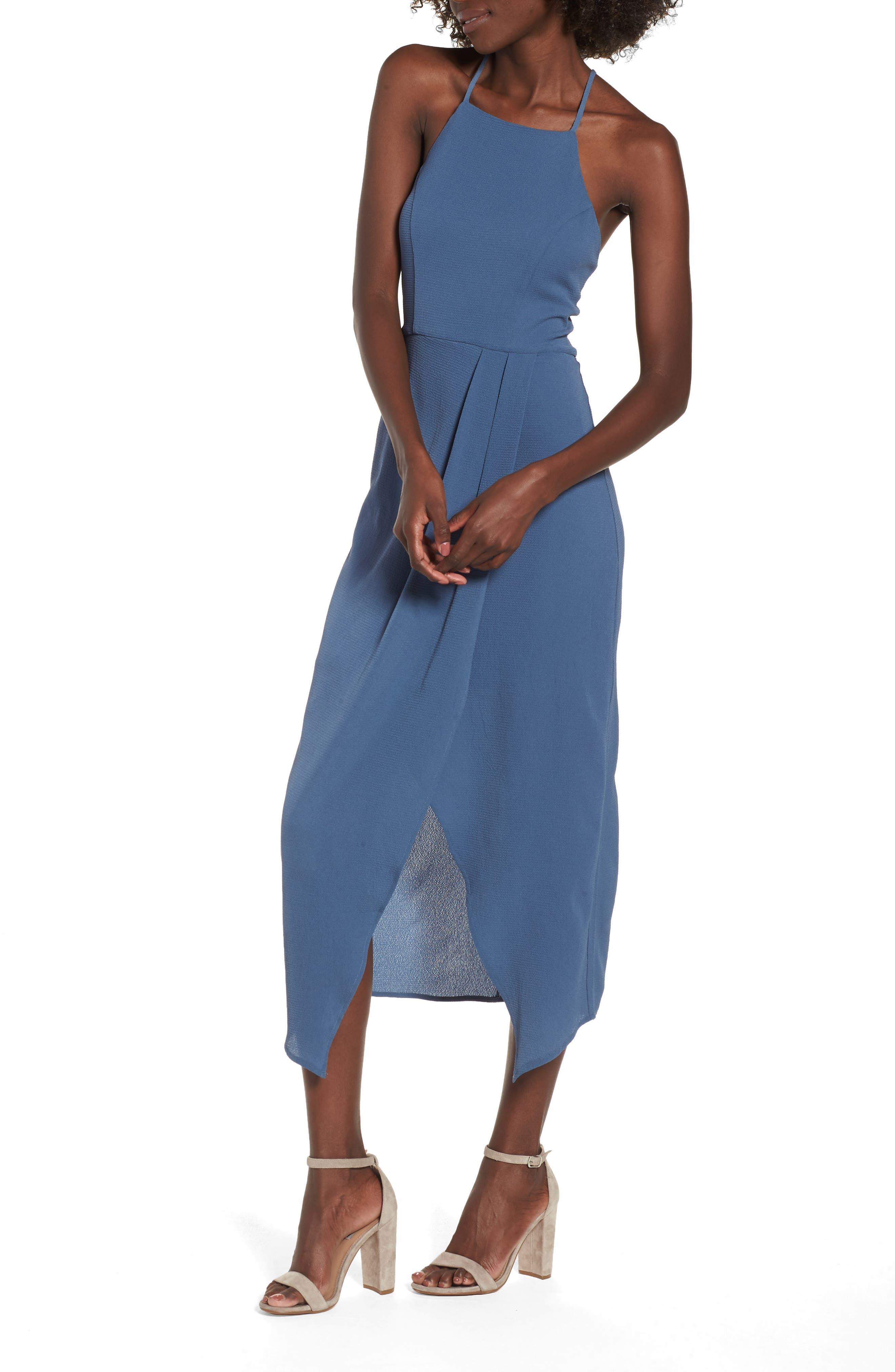 Wrap Midi Dress,                             Main thumbnail 1, color,                             Dusty Teal