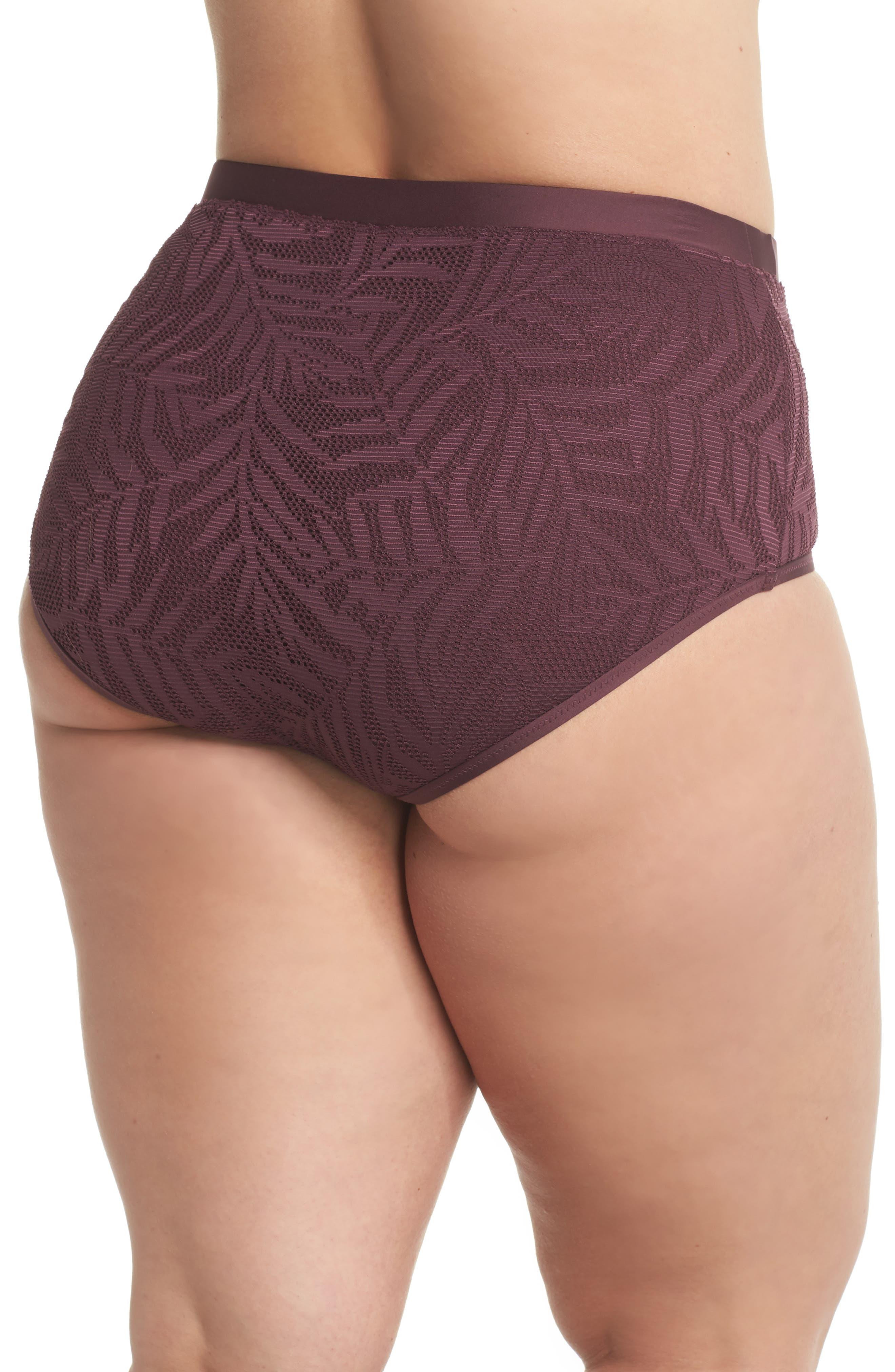 Crochet Inset High Waist Bikini Bottoms,                             Alternate thumbnail 2, color,                             Wine