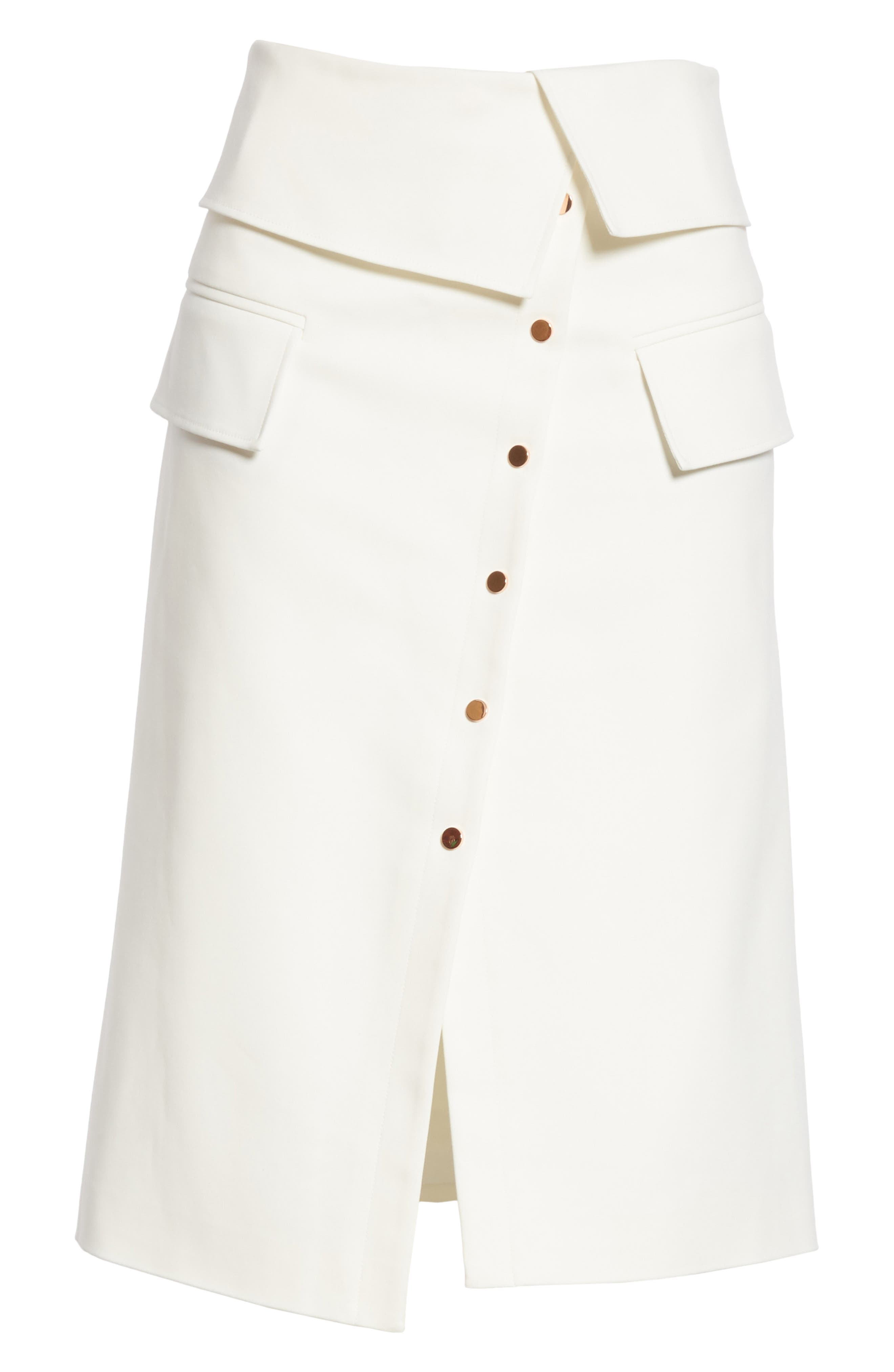 Flap Detail Urban Stretch Skirt,                             Alternate thumbnail 6, color,                             Ivory