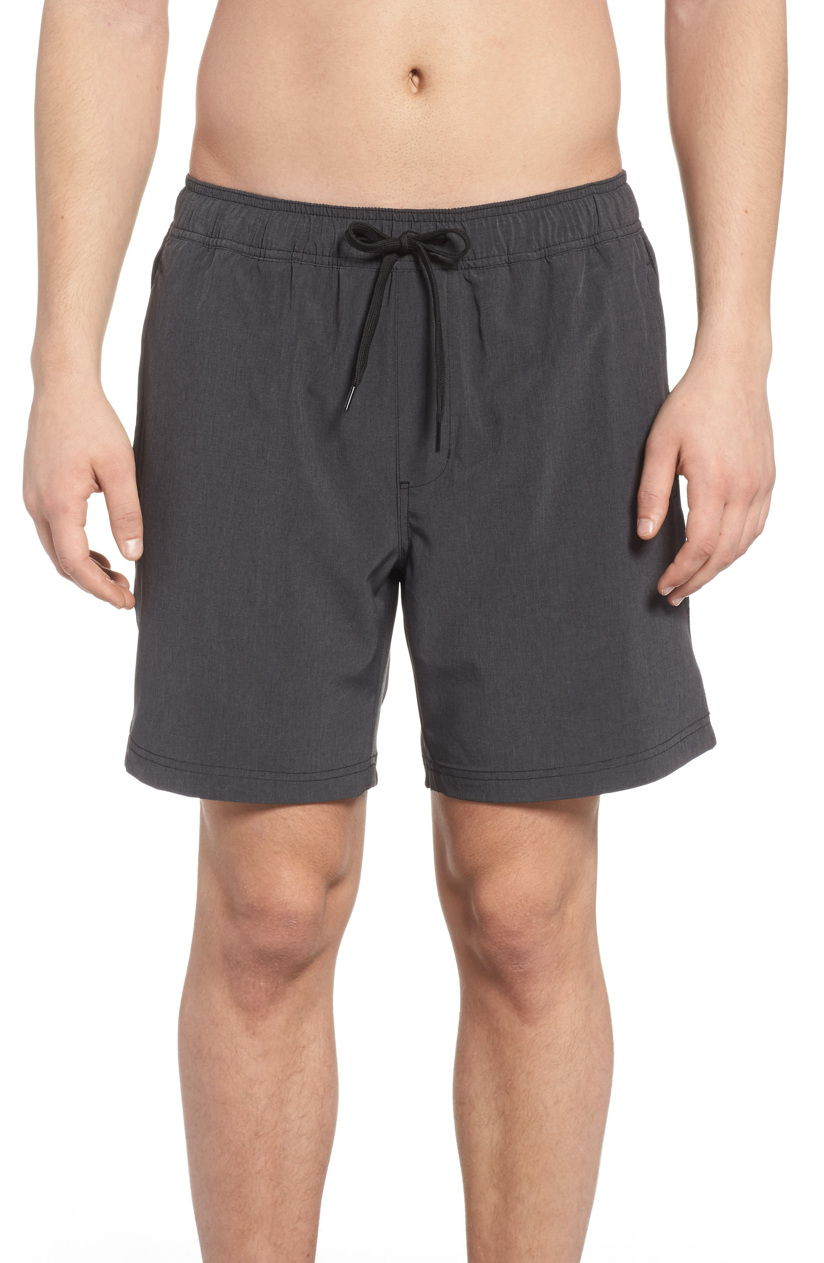 Stretch Swim Trunks,                             Main thumbnail 1, color,                             Black Oxide Heather