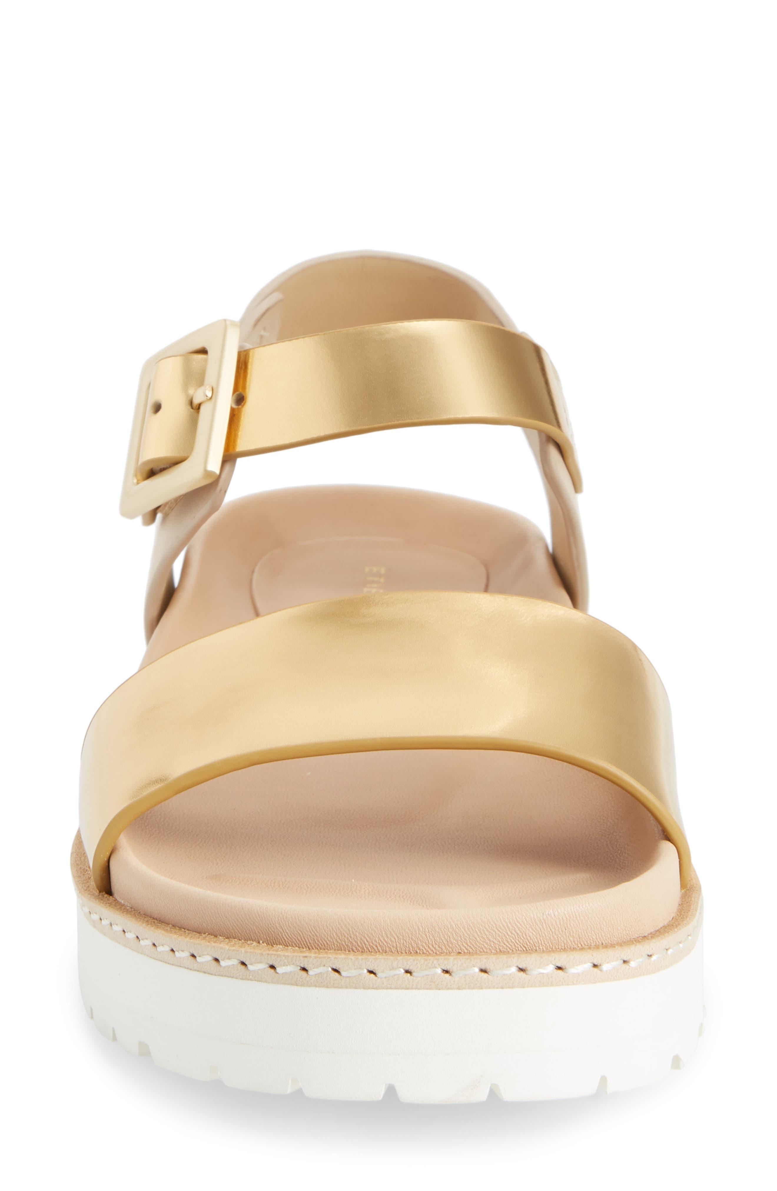 Ange Sandal,                             Alternate thumbnail 4, color,                             Gold/ Natural Leather