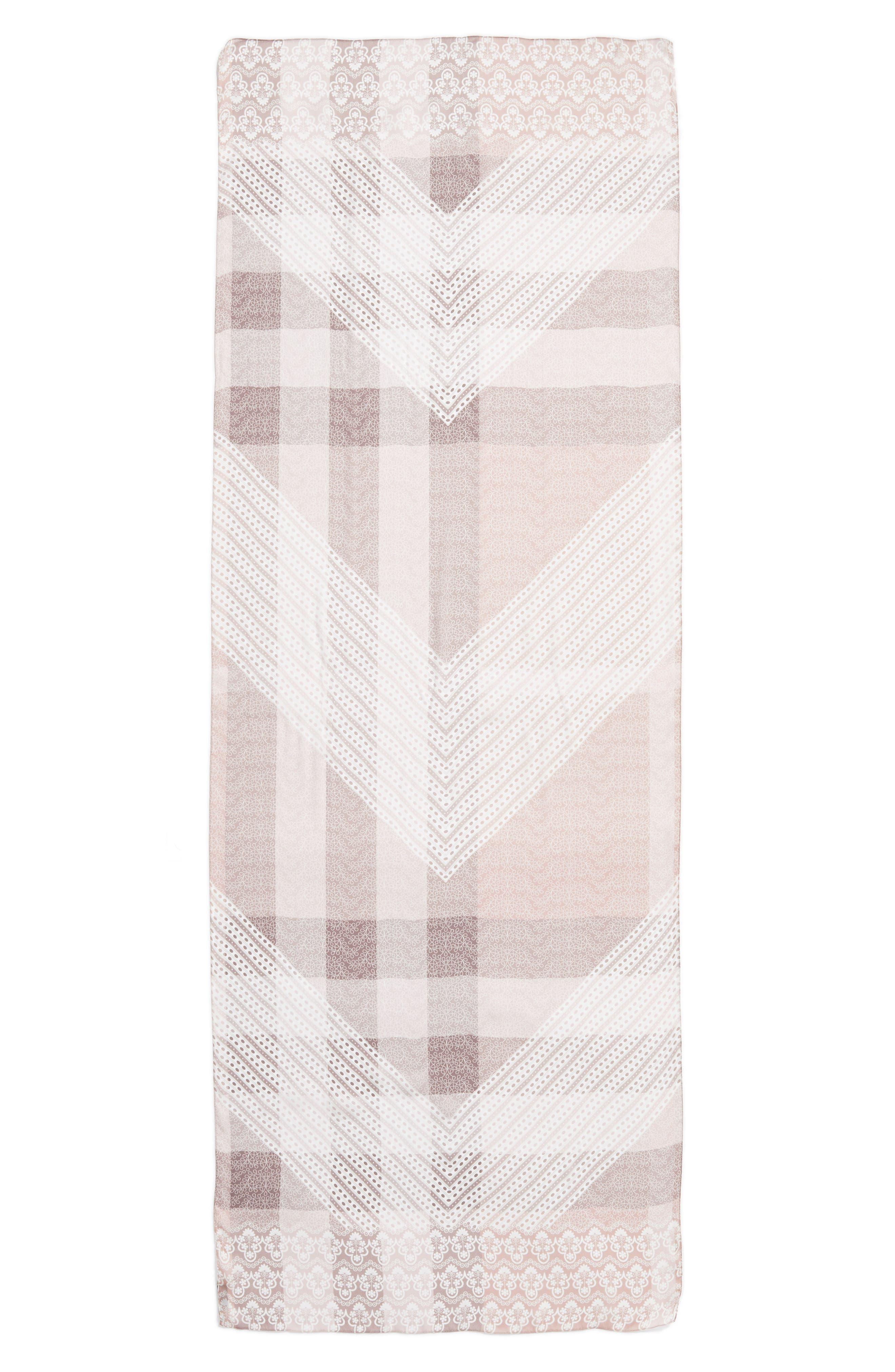 Ultra Mega Lace Silk Scarf,                             Alternate thumbnail 3, color,                             Ash Rose Pink