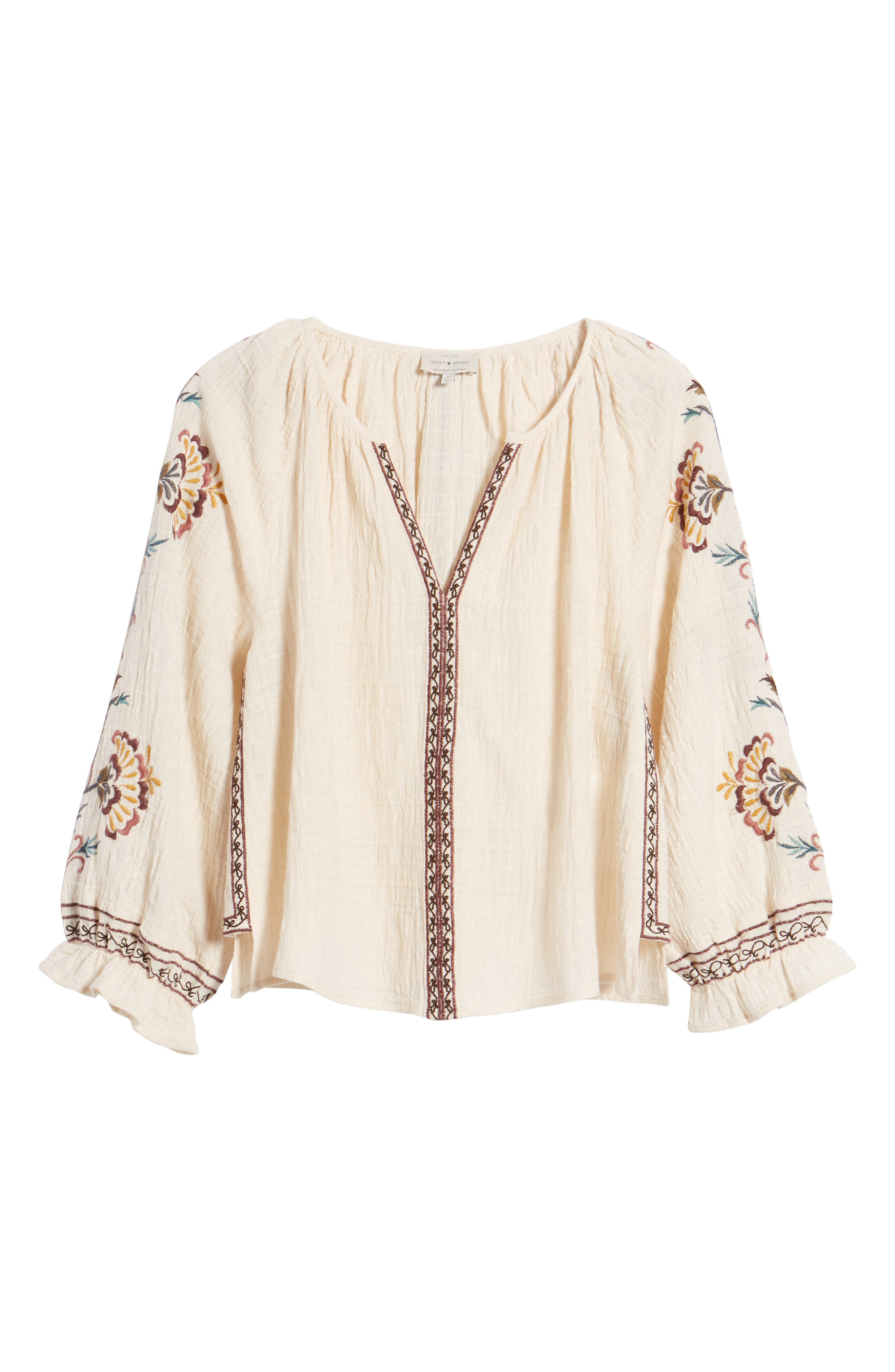 Embroidered Peasant Blouse,                             Alternate thumbnail 7, color,                             Natural Multi