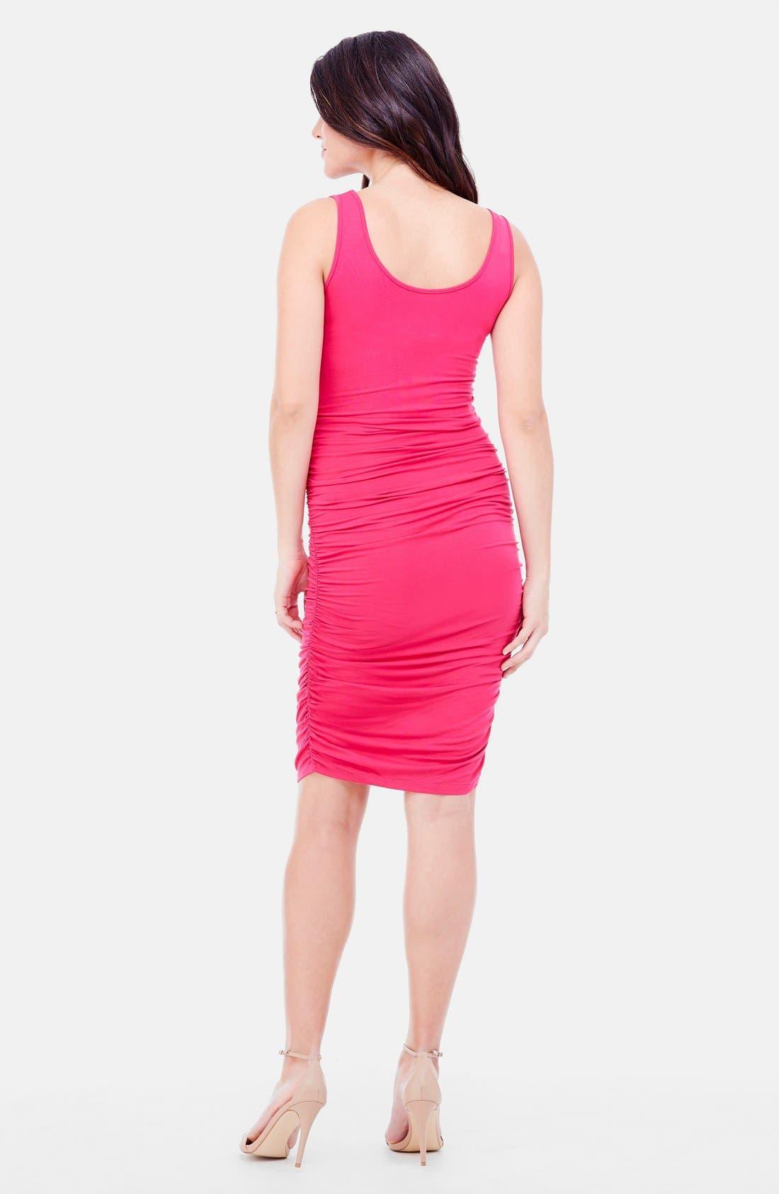 Shirred Maternity Tank Dress,                             Alternate thumbnail 2, color,                             Berry