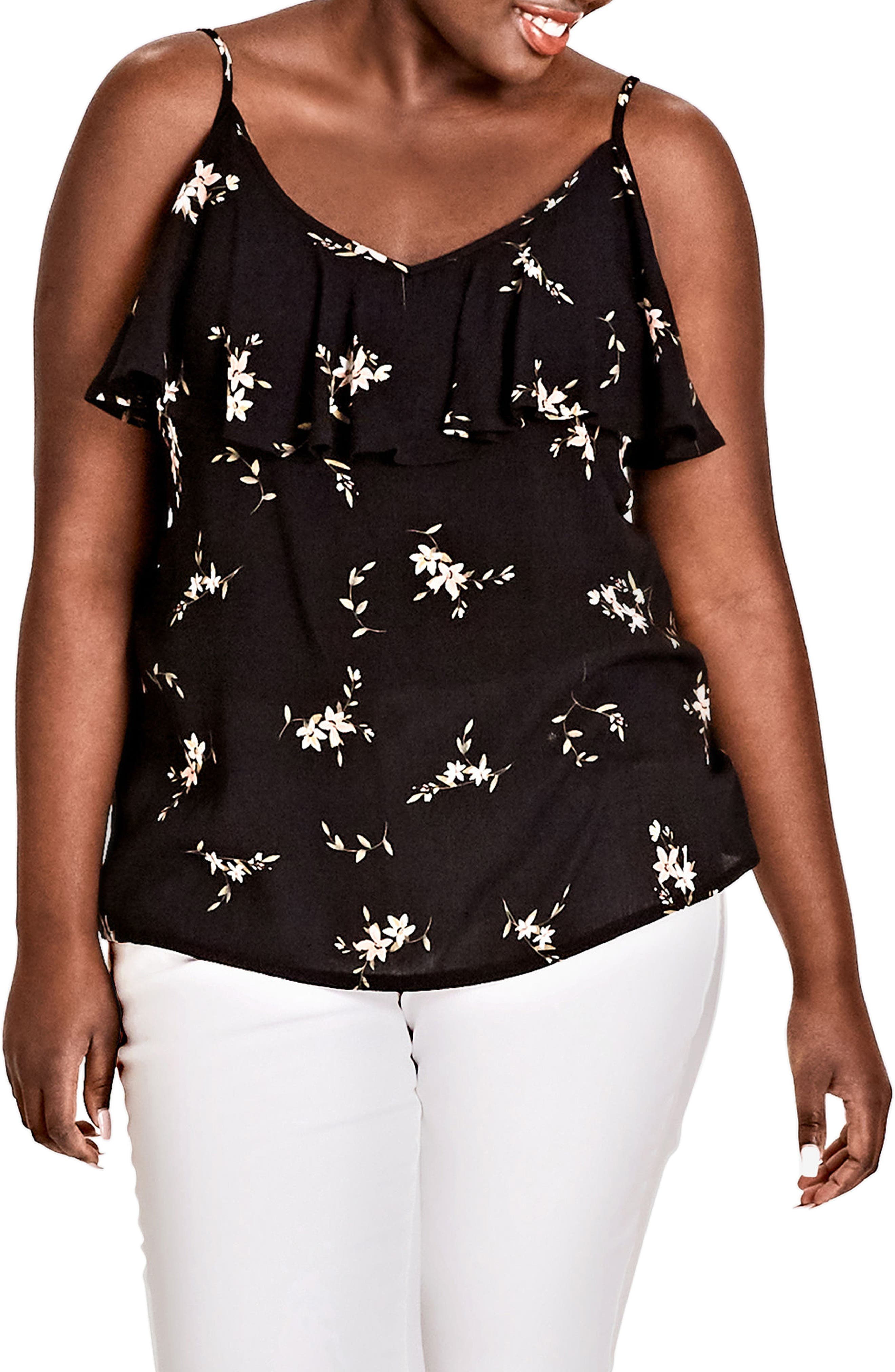 City Chic Aerial Floral Top (Plus Size)