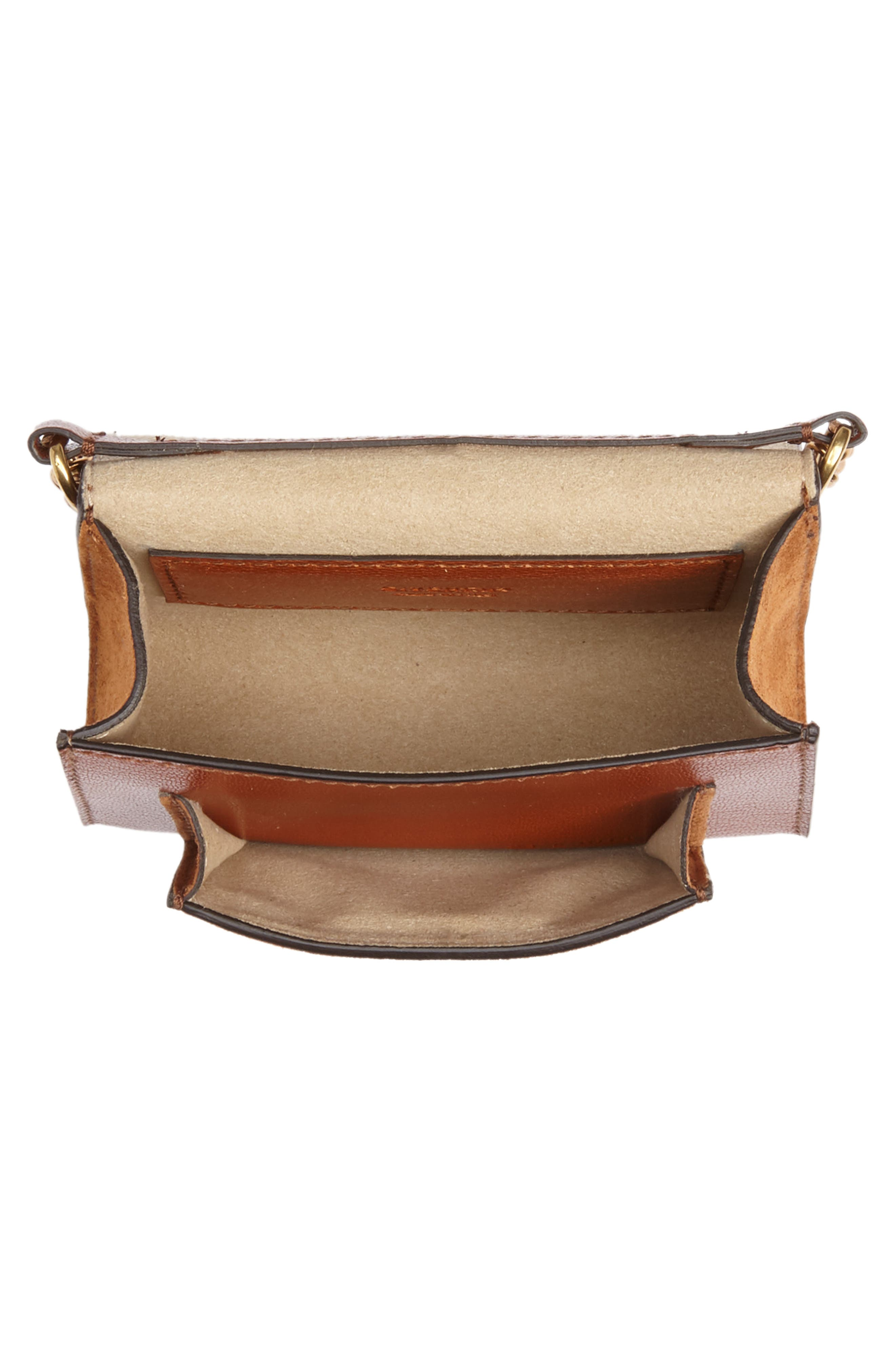 Givency Nano GV3 Leather & Suede Crossbody Bag,                             Alternate thumbnail 4, color,                             Chestnut