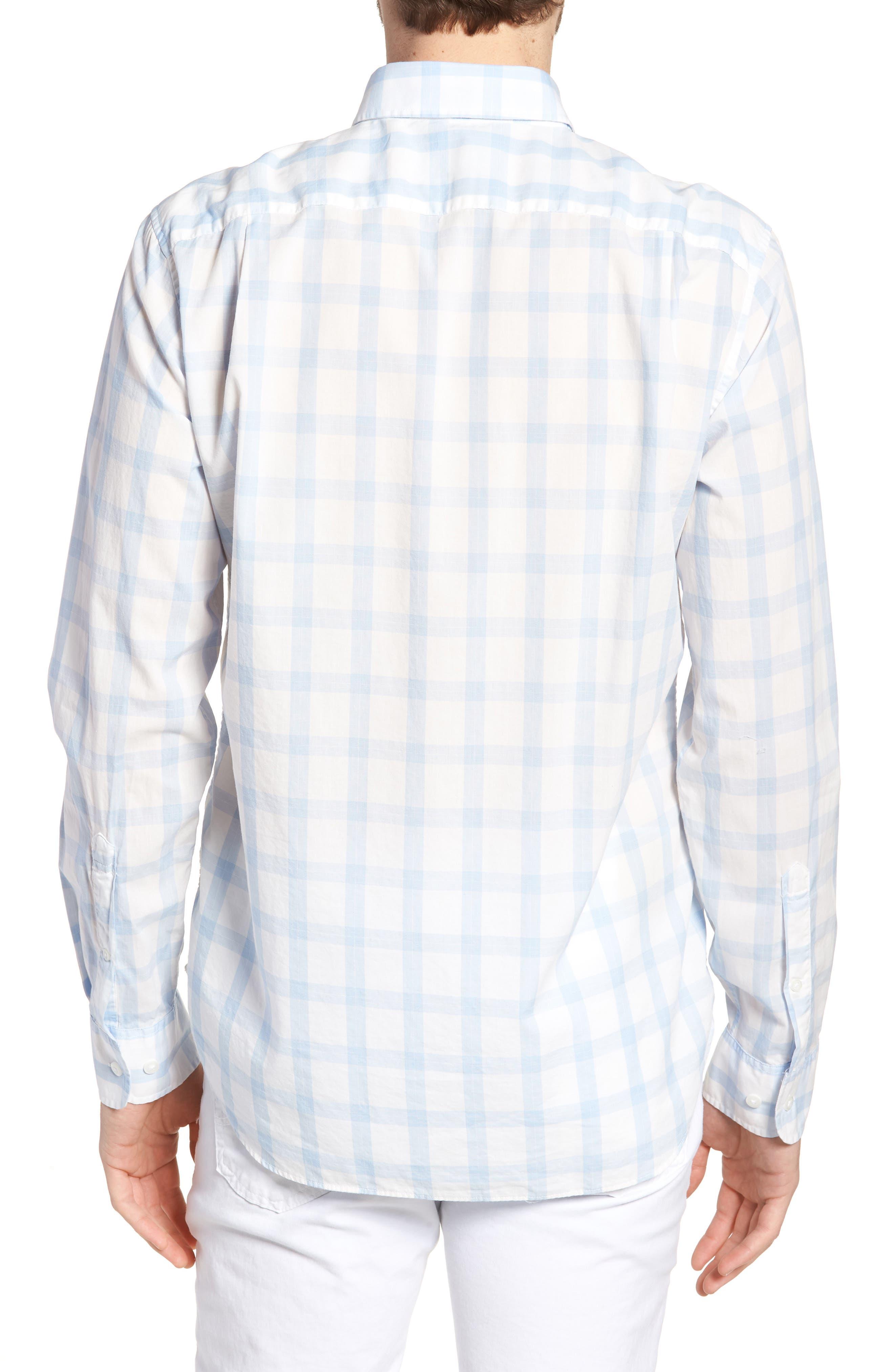 Slim Fit Summerweight Sport Shirt,                             Alternate thumbnail 3, color,                             Sea Mist Check - Della Blue