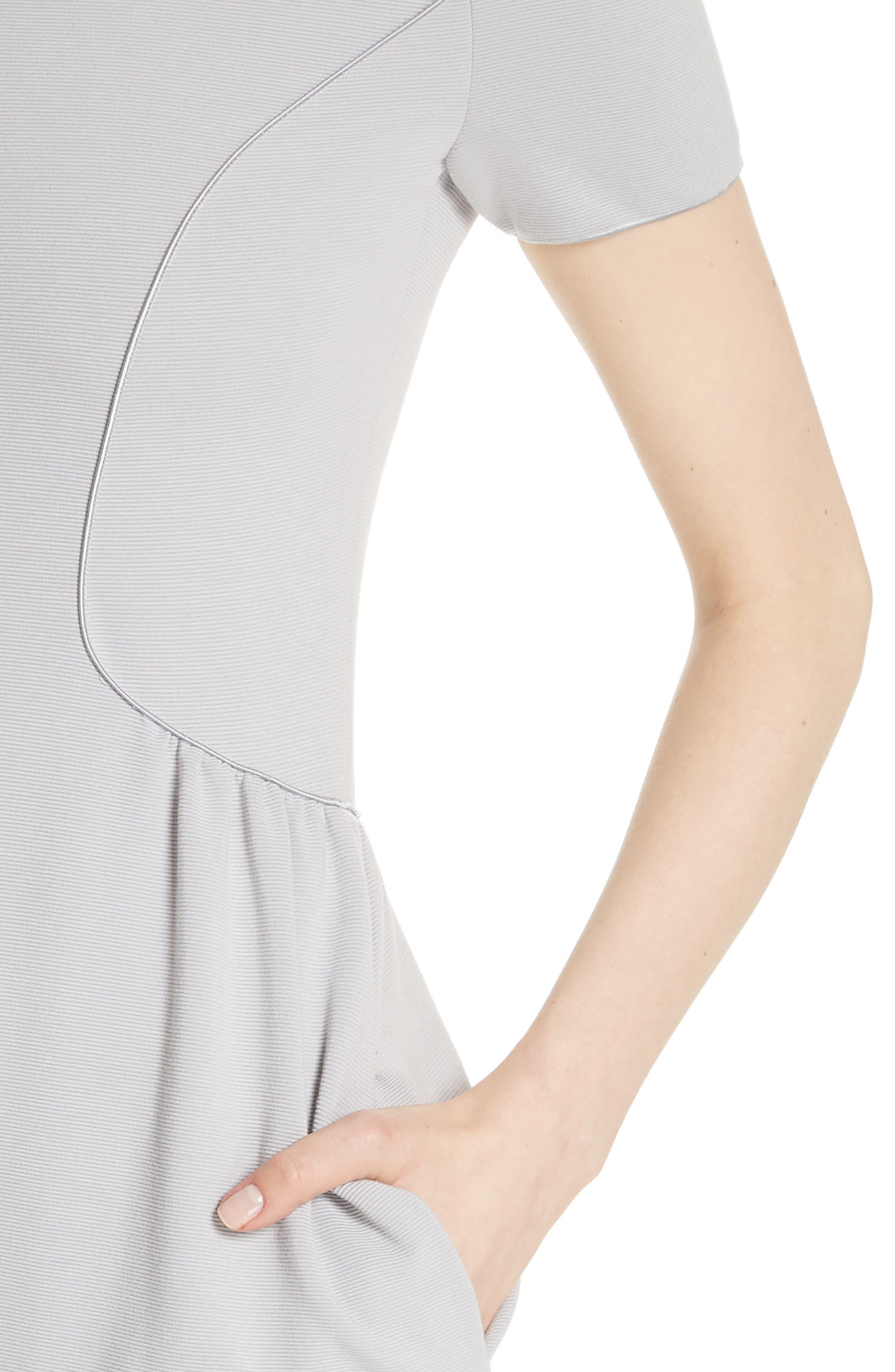 Seamed Ribbed Dress,                             Alternate thumbnail 4, color,                             Pearl Grey