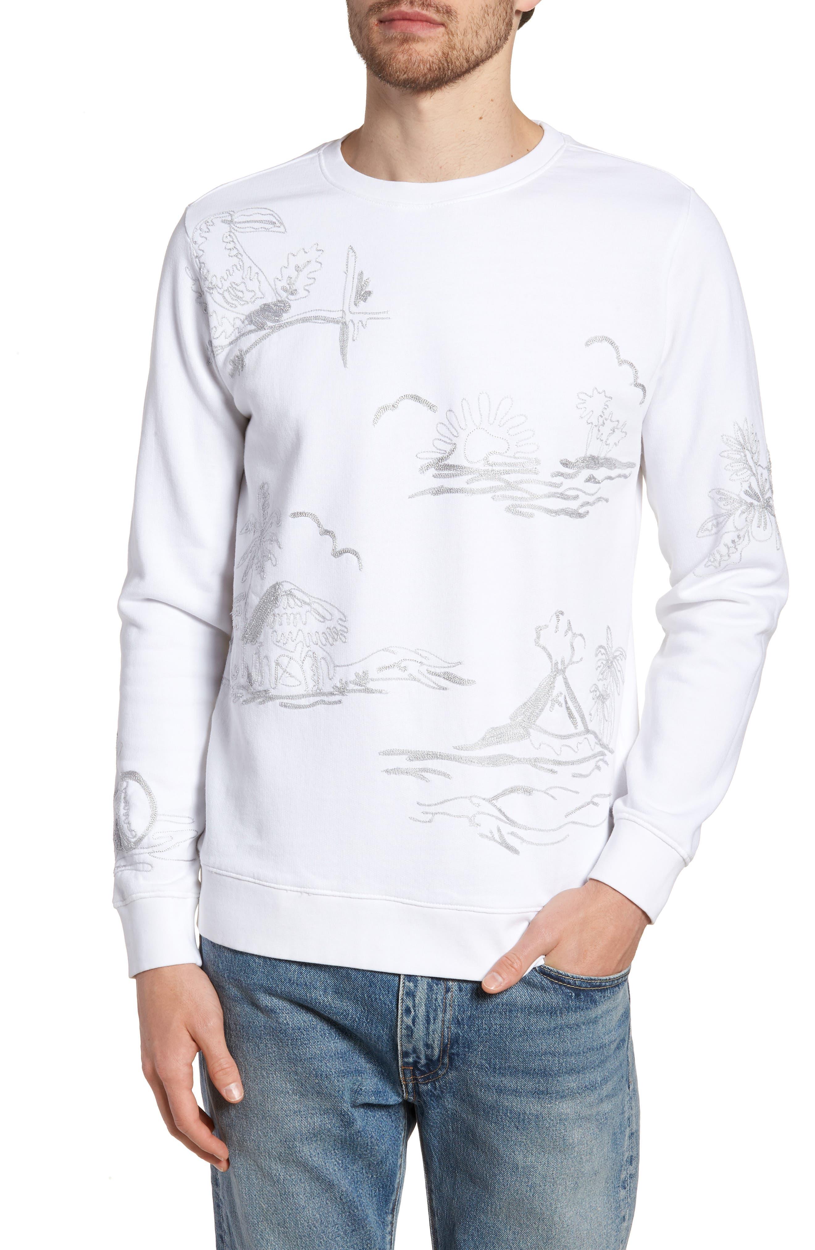 Slim Fit Chain Stitch Crewneck Sweatshirt,                         Main,                         color, Hawaiian Print