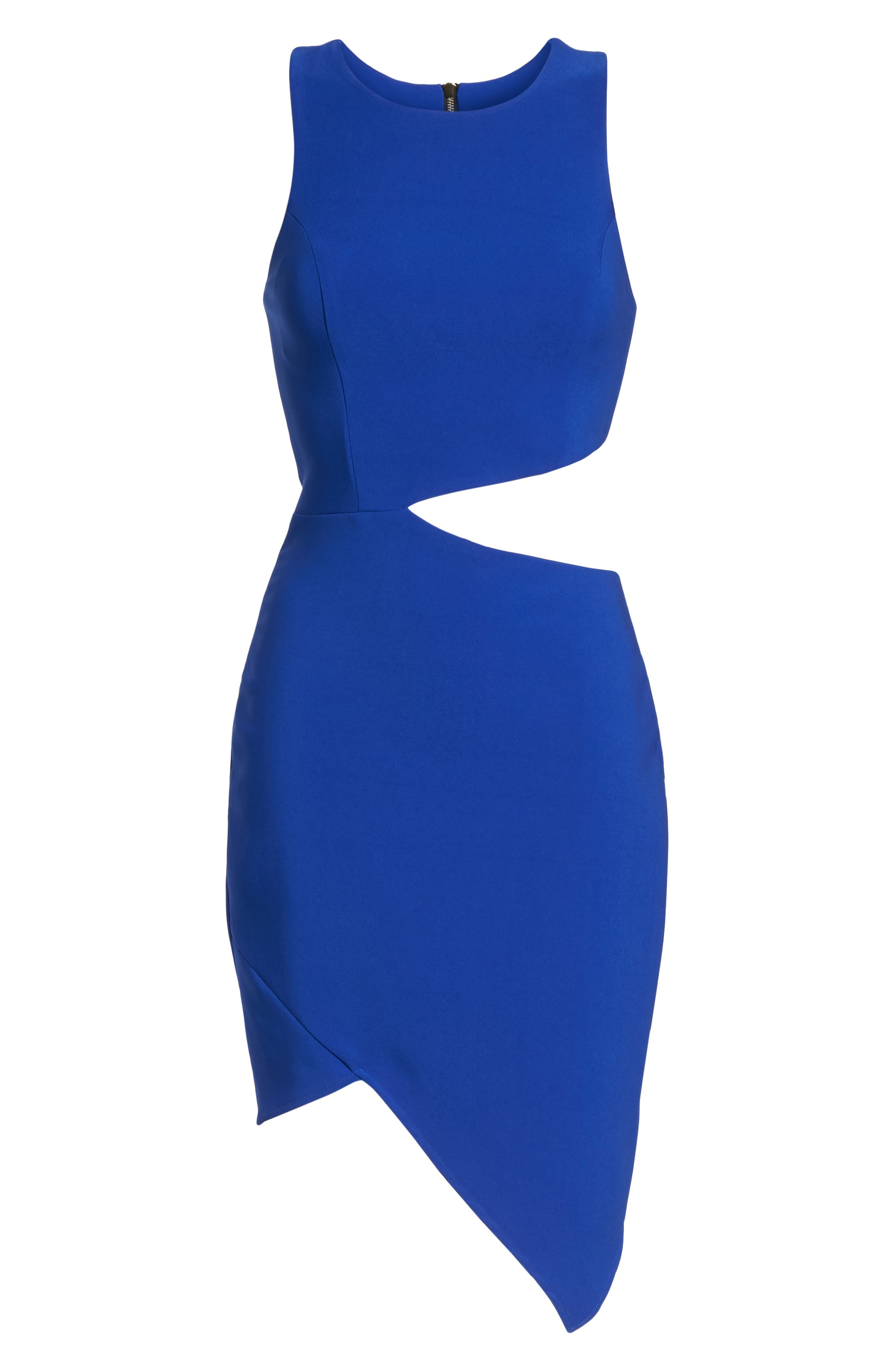 Taylor Racer Cutout Asymmetrical Dress,                             Alternate thumbnail 6, color,                             Cobalt