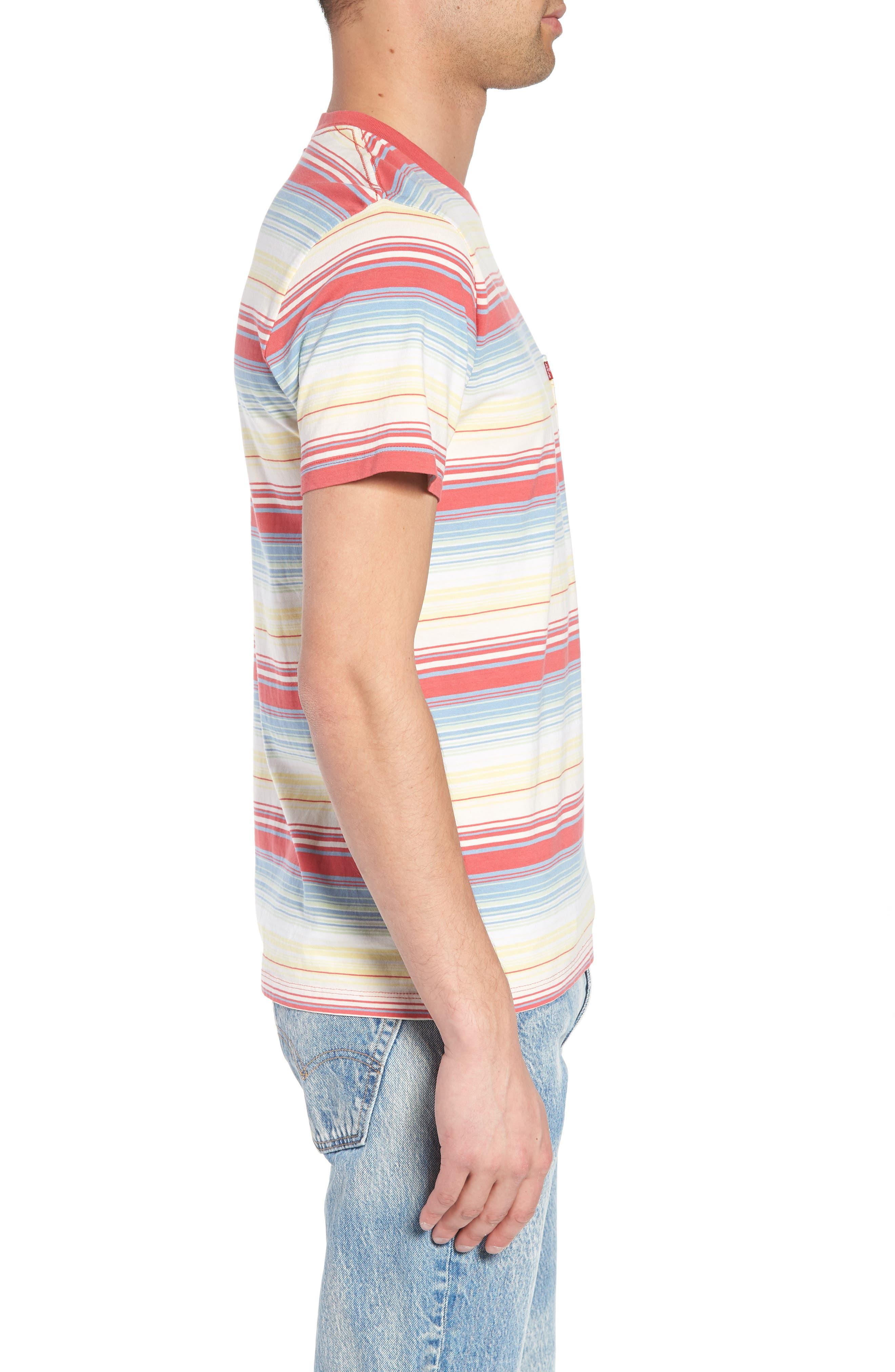 Set-In Sunset Pocket T-Shirt,                             Alternate thumbnail 3, color,                             Fiesta Stripe