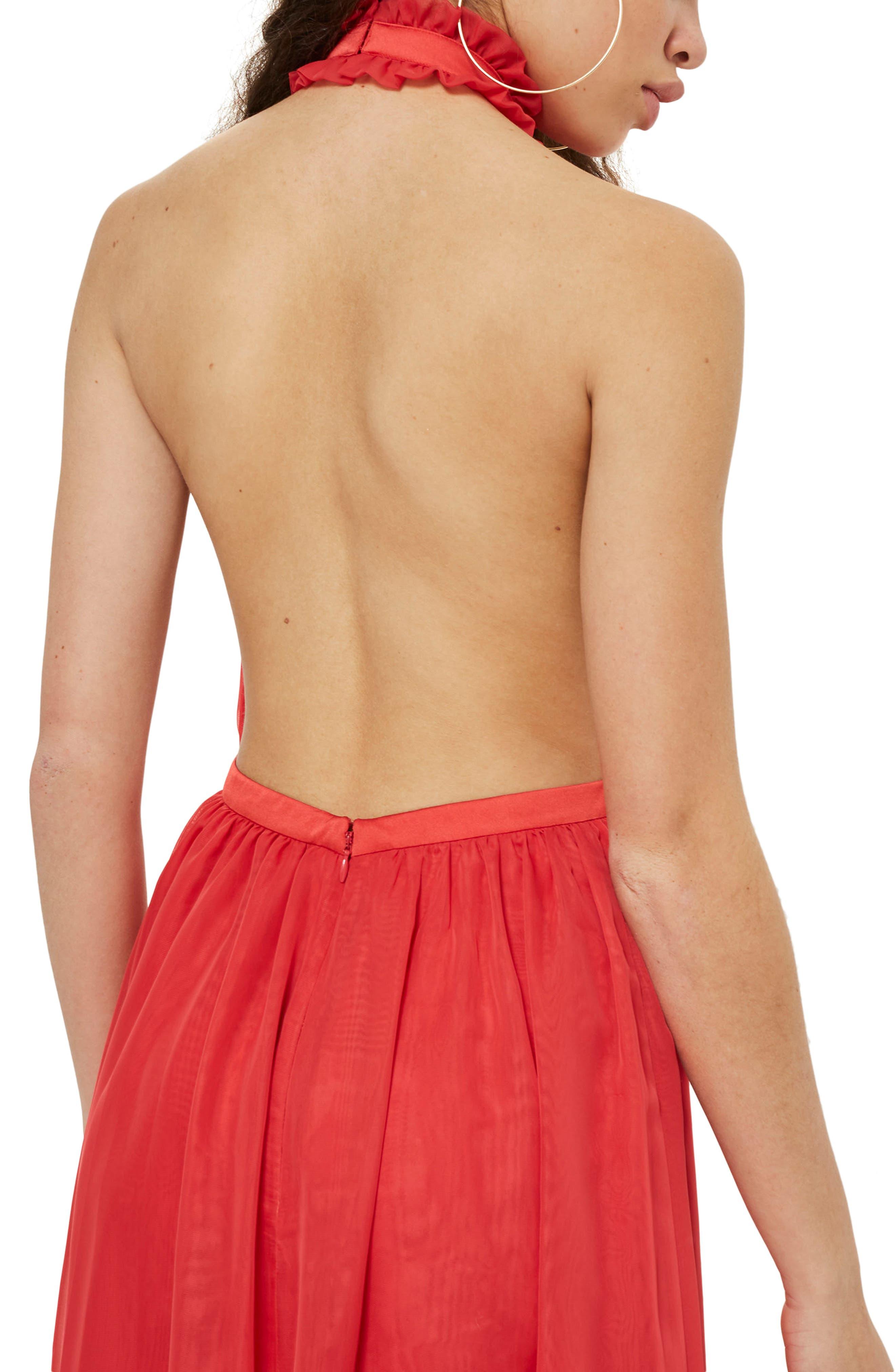 Taylor Halter Maxi Dress,                             Alternate thumbnail 2, color,                             Red