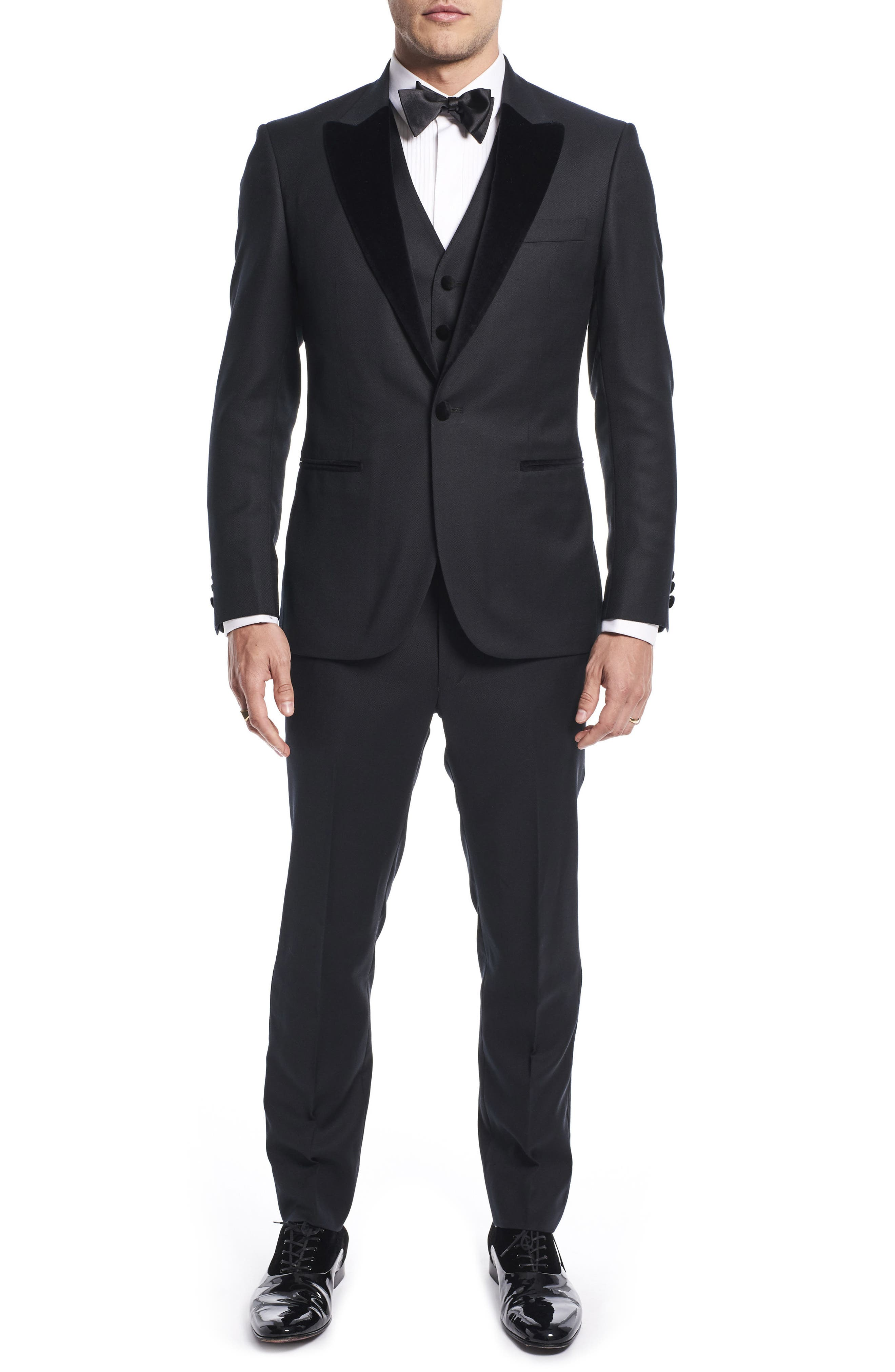 by Ilaria Urbinati Teddy Slim Fit Three-Piece Wool Tuxedo,                             Main thumbnail 1, color,                             Textured Black