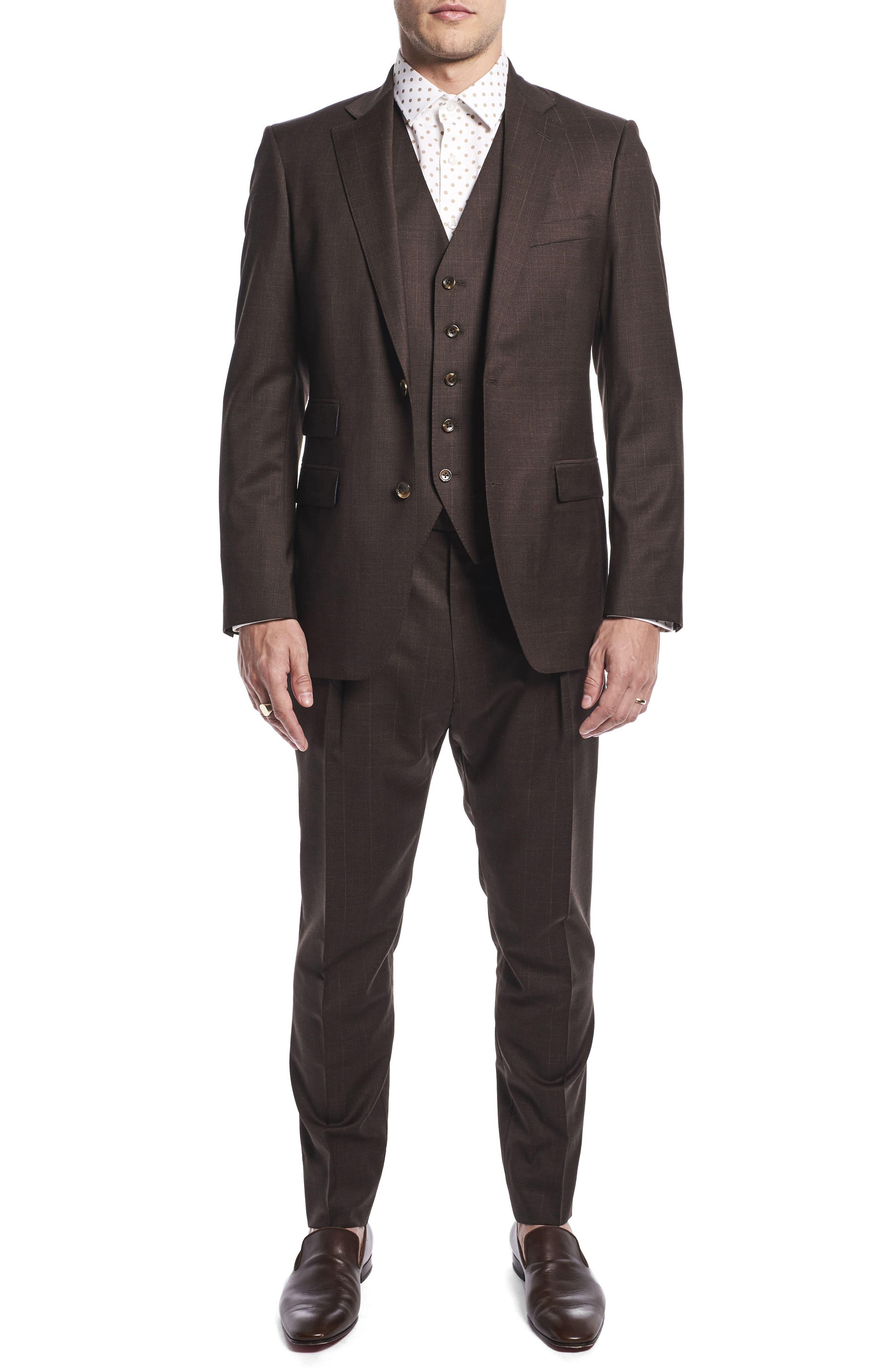 by Ilaria Urbinati Hank Slim Fit Three-Piece Plaid Wool Suit,                         Main,                         color, Brown Plaid