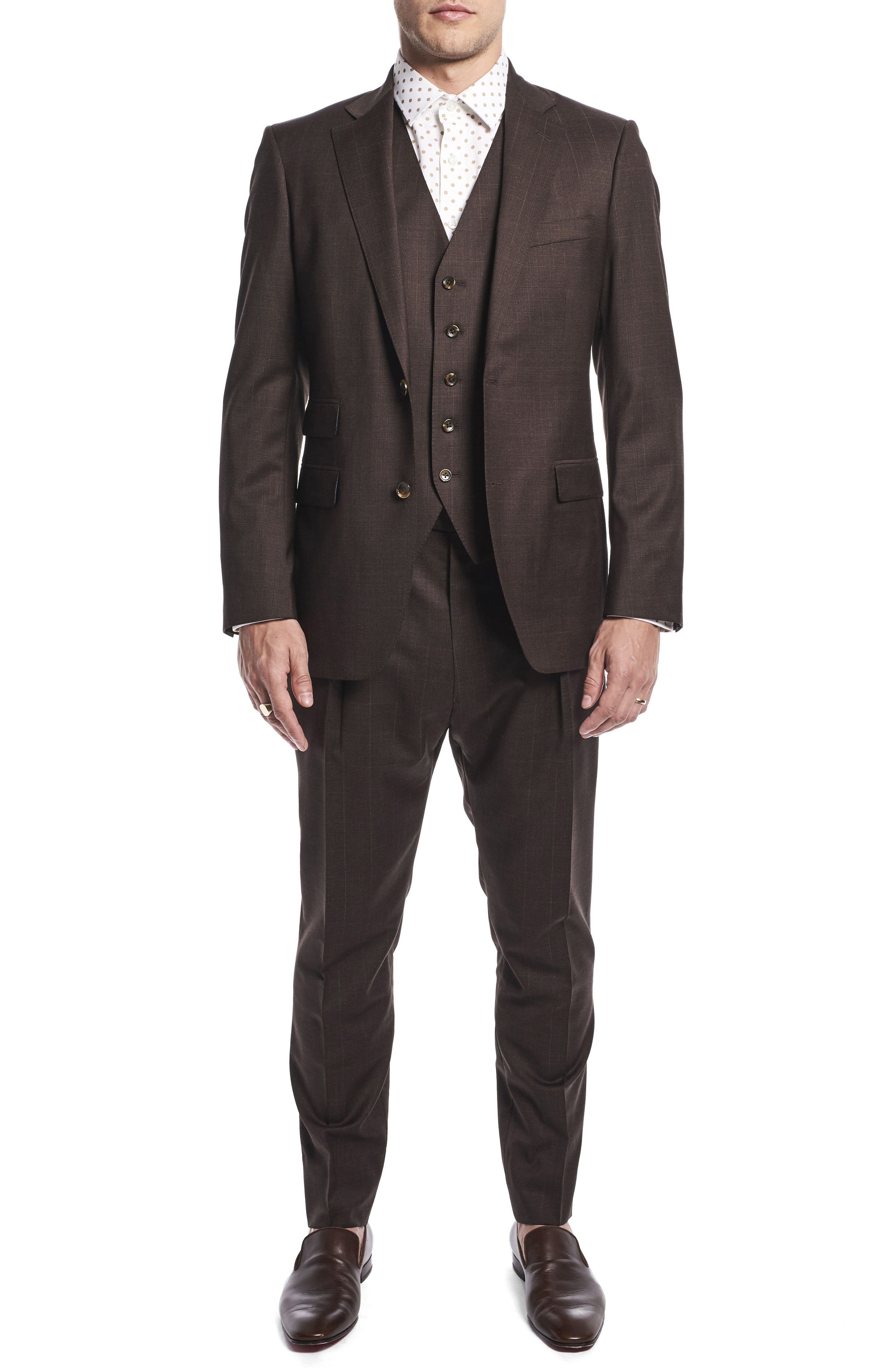 by Ilaria Urbinati Hank Slim Fit Three-Piece Plaid Wool Suit,                         Main,                         color, Brown Plaid