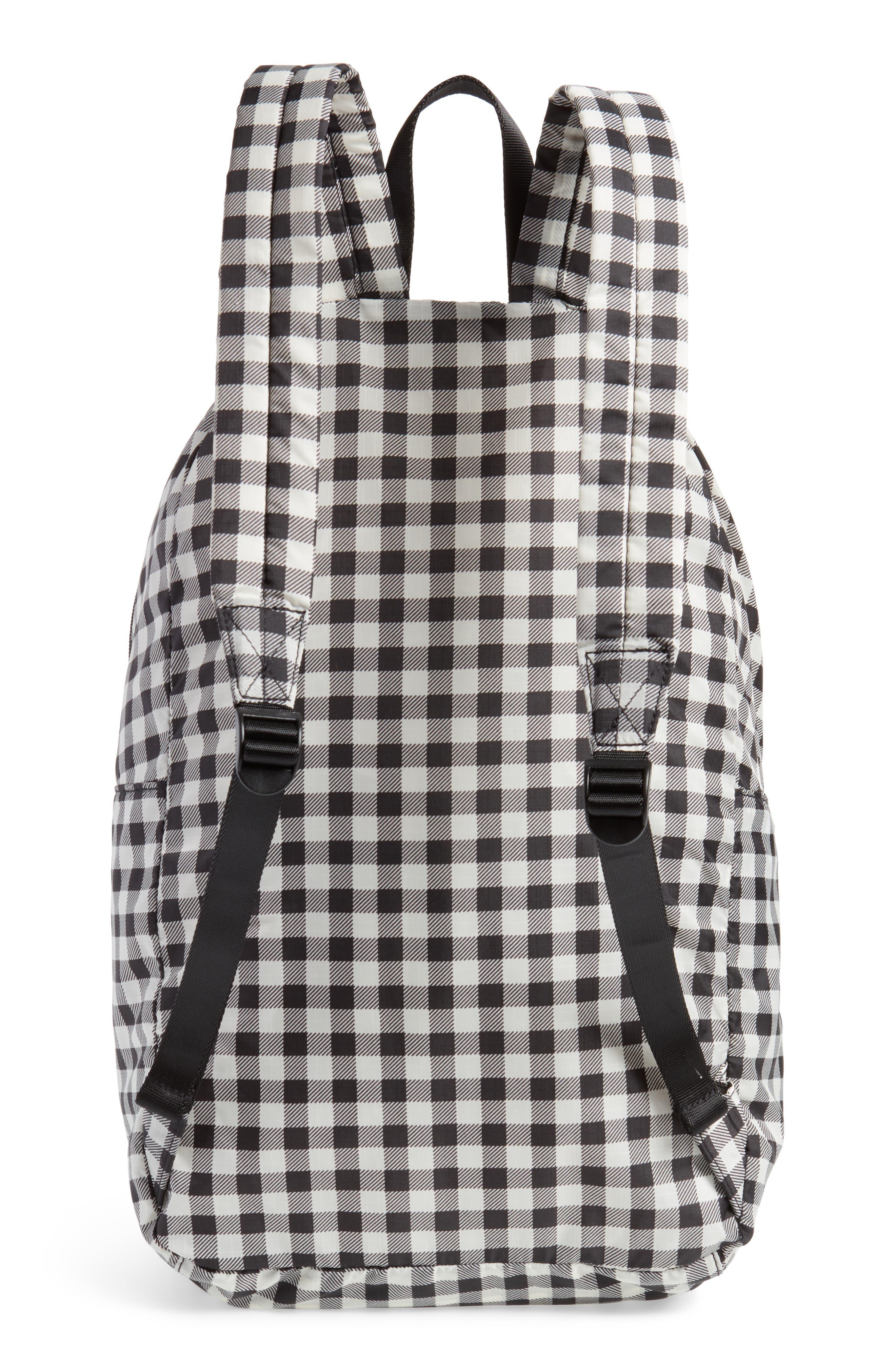 Ripstop Nylon Backpack,                             Alternate thumbnail 3, color,                             Black Gingham