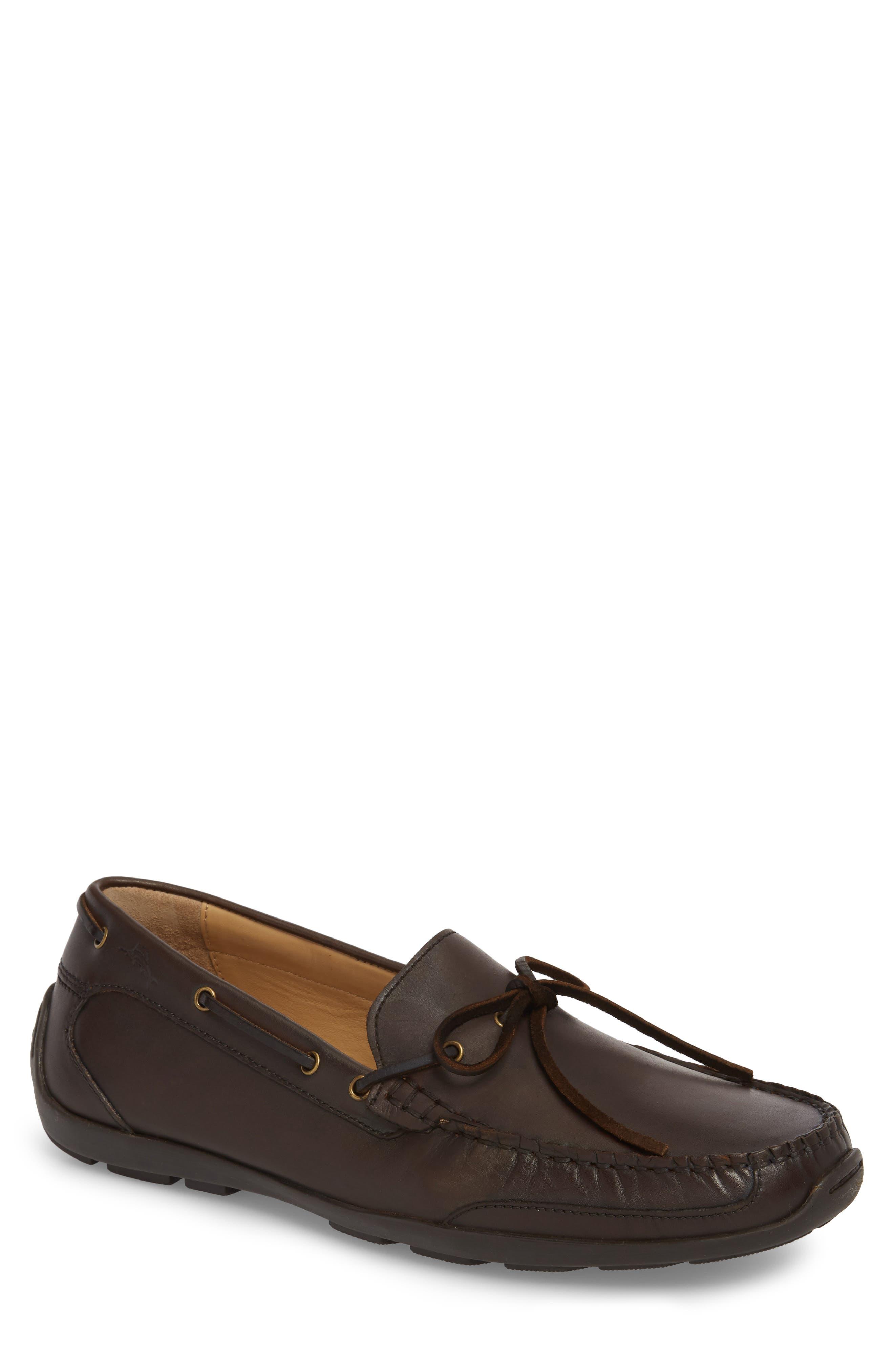 Tangier Driving Shoe,                             Main thumbnail 1, color,                             Medium Brown Leather