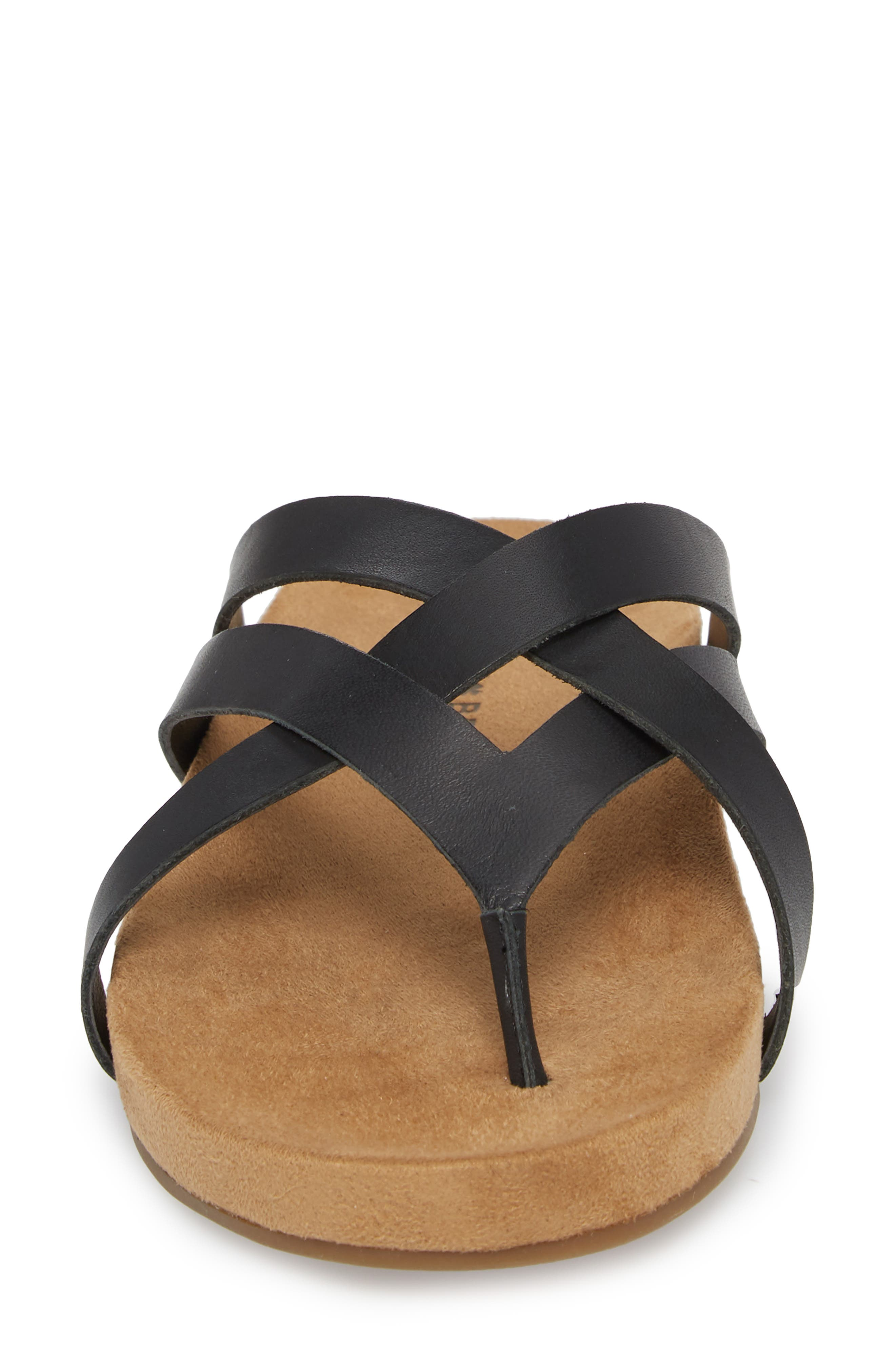Fillima Flip Flop,                             Alternate thumbnail 4, color,                             Black Leather
