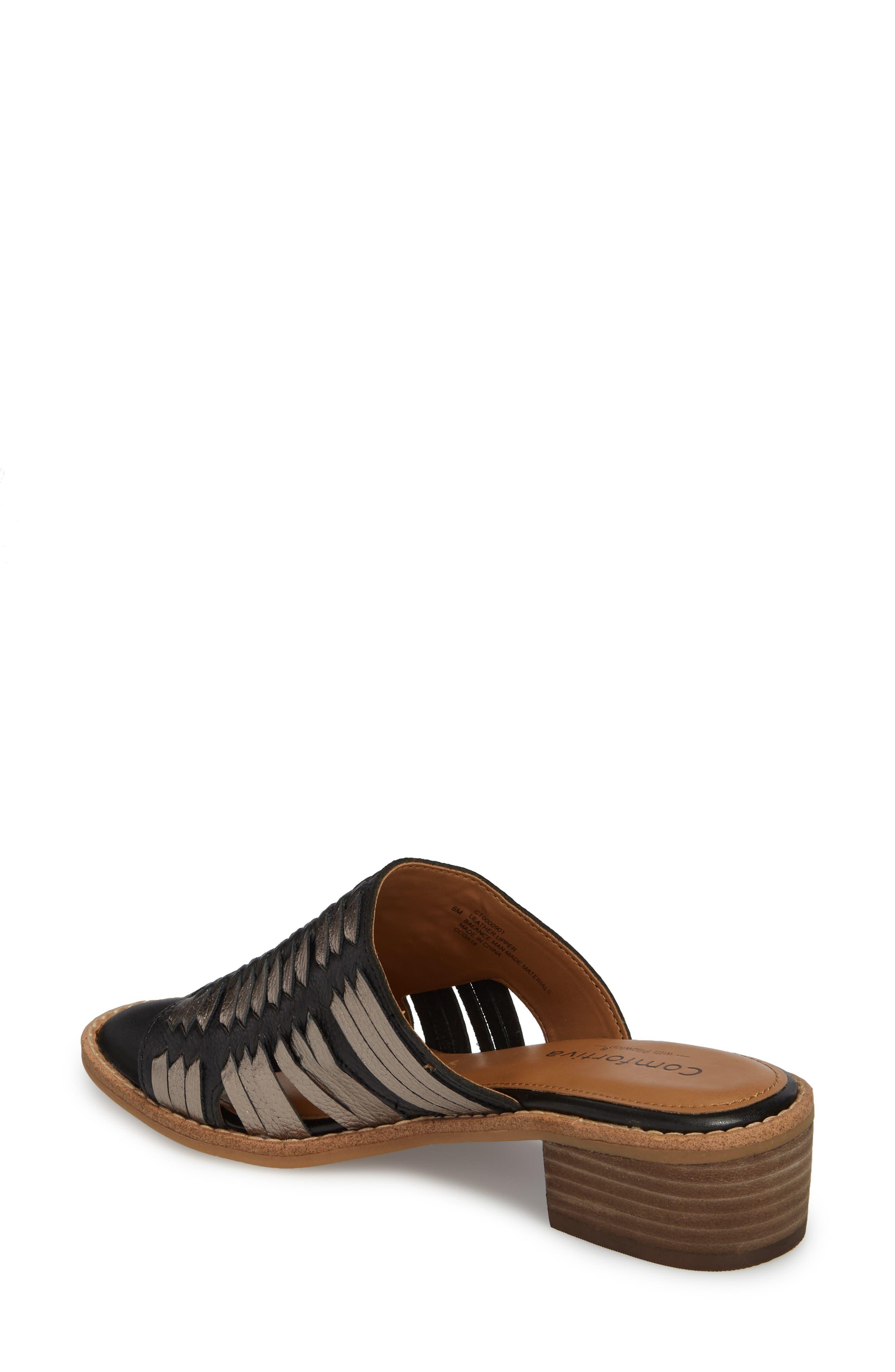 Brileigh Slide Sandal,                             Alternate thumbnail 2, color,                             Black Leather