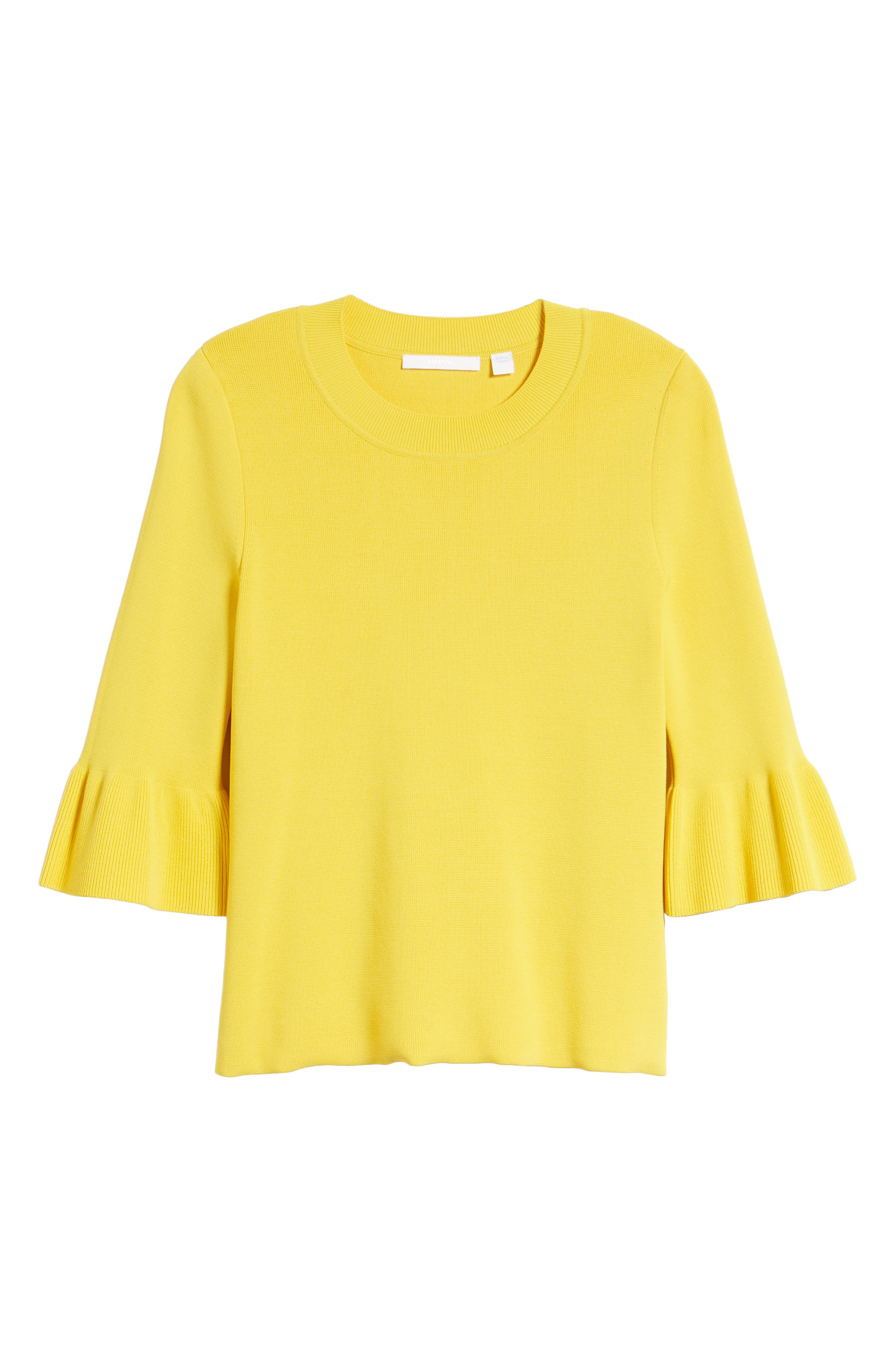 Fenella Ruffle Sleeve Sweater,                             Alternate thumbnail 6, color,                             Sun Yellow