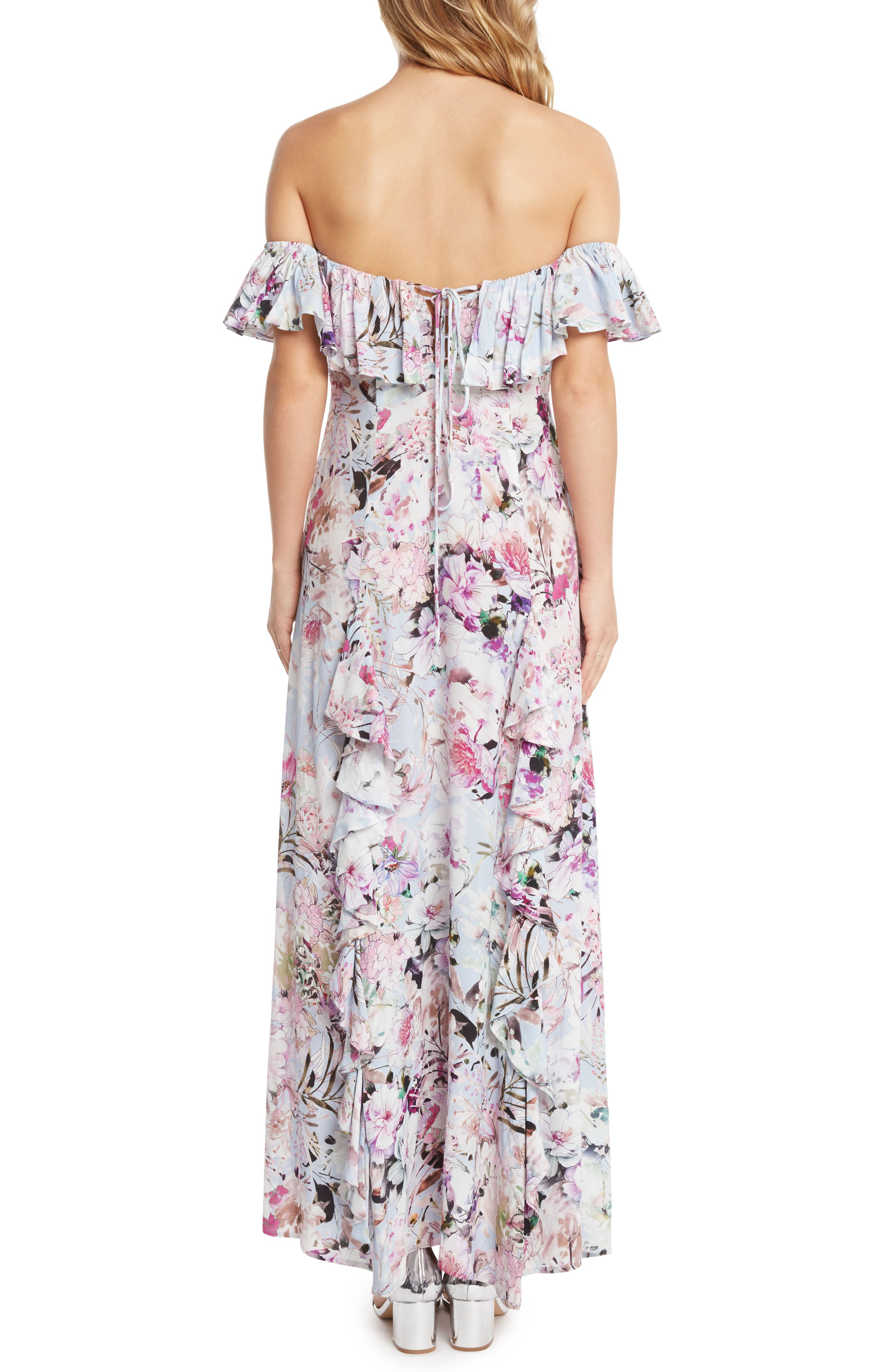 Alternate Image 2  - Willow & Clay Floral Print Ruffle Maxi Dress