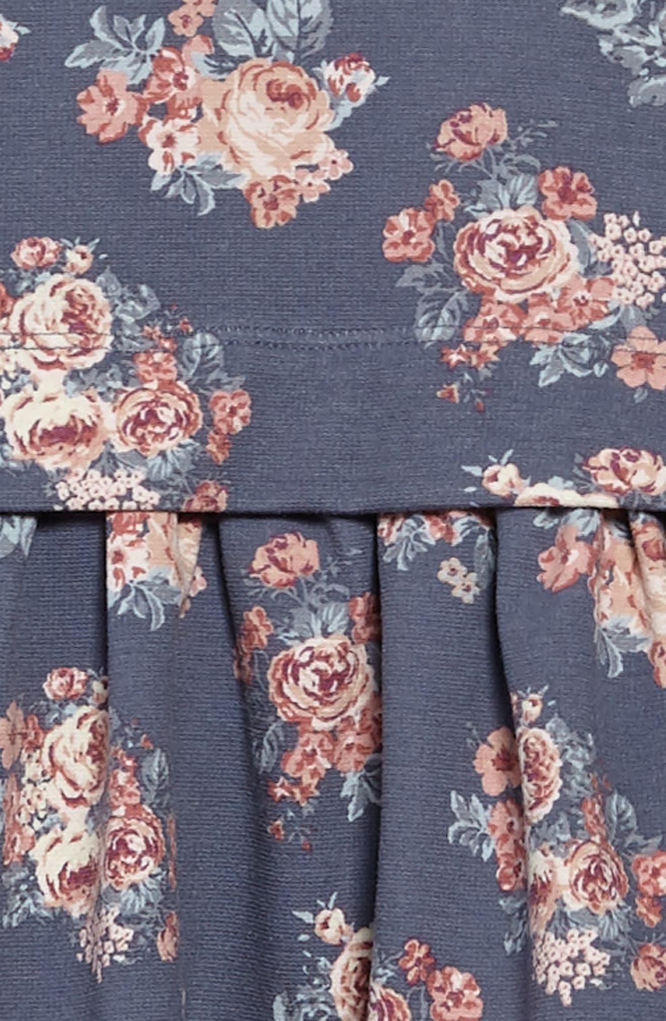 Michella Floral Print Dress,                             Alternate thumbnail 3, color,                             Grisaille