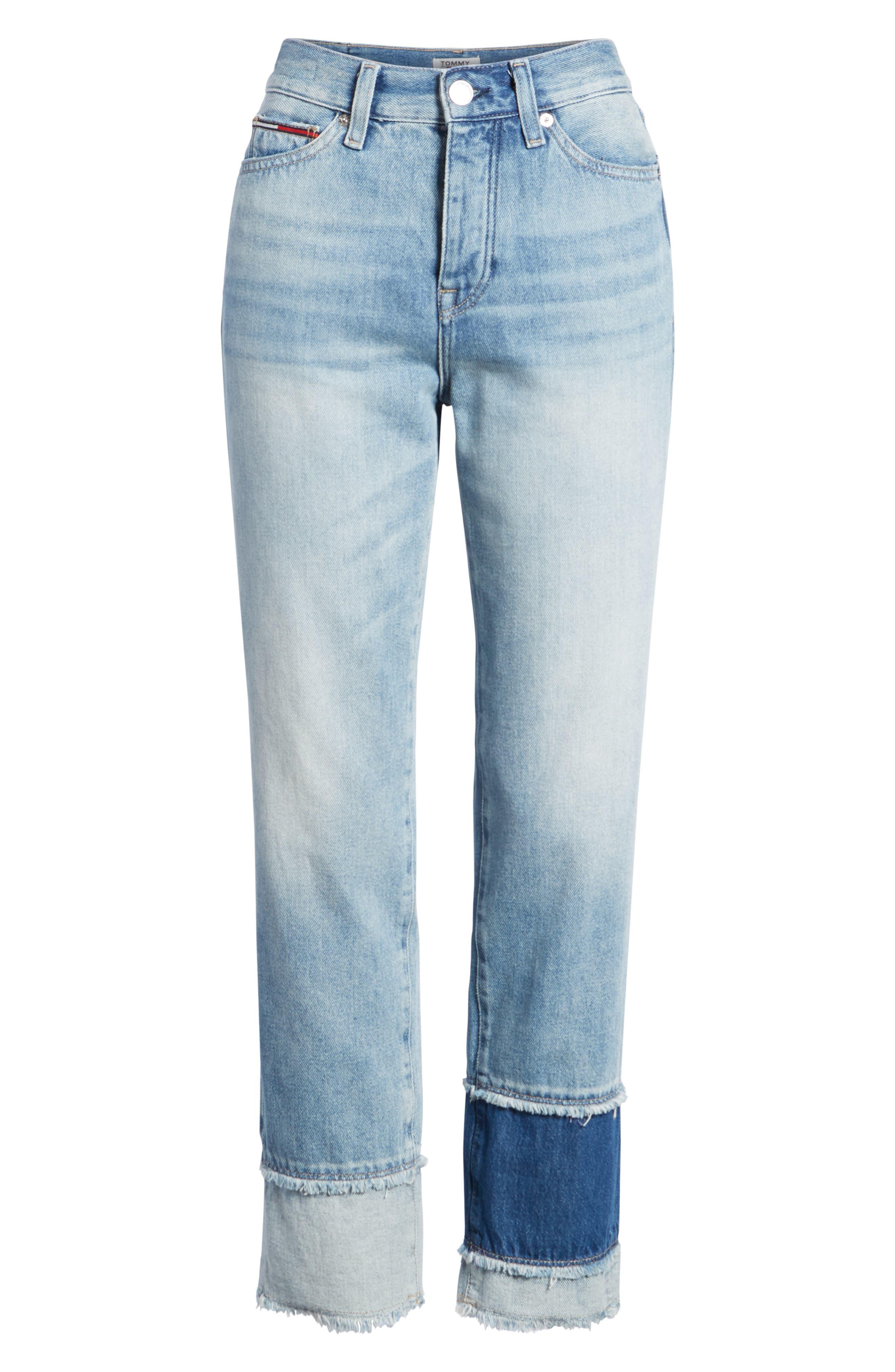 Izzy Layered Cuff Slim Leg Jeans,                             Alternate thumbnail 7, color,                             Raw Patch Light Blue Rigid