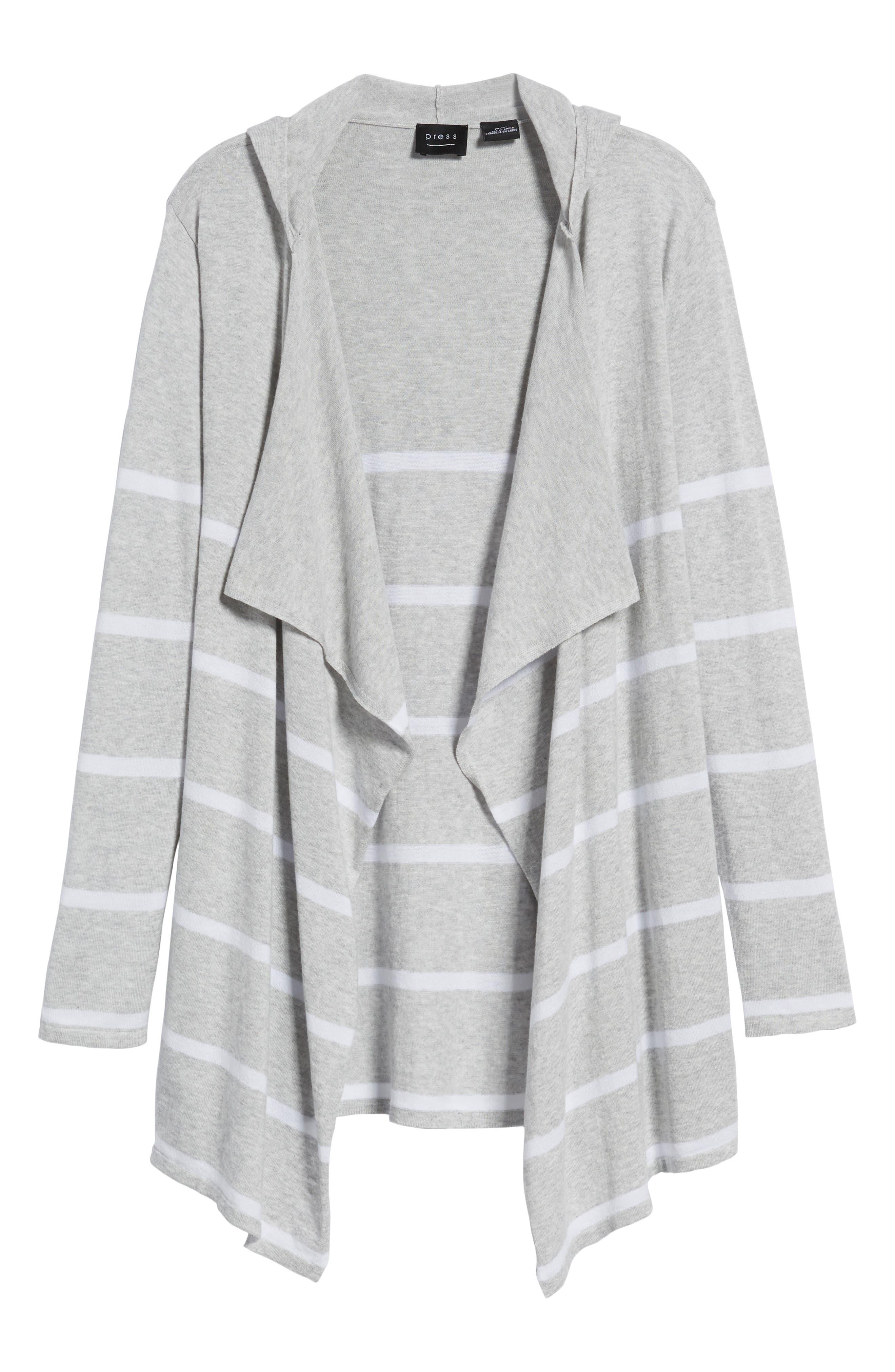 Flyaway Stripe Hoodie Cardigan,                             Alternate thumbnail 7, color,                             Pebble Grey Mex/ Warm White