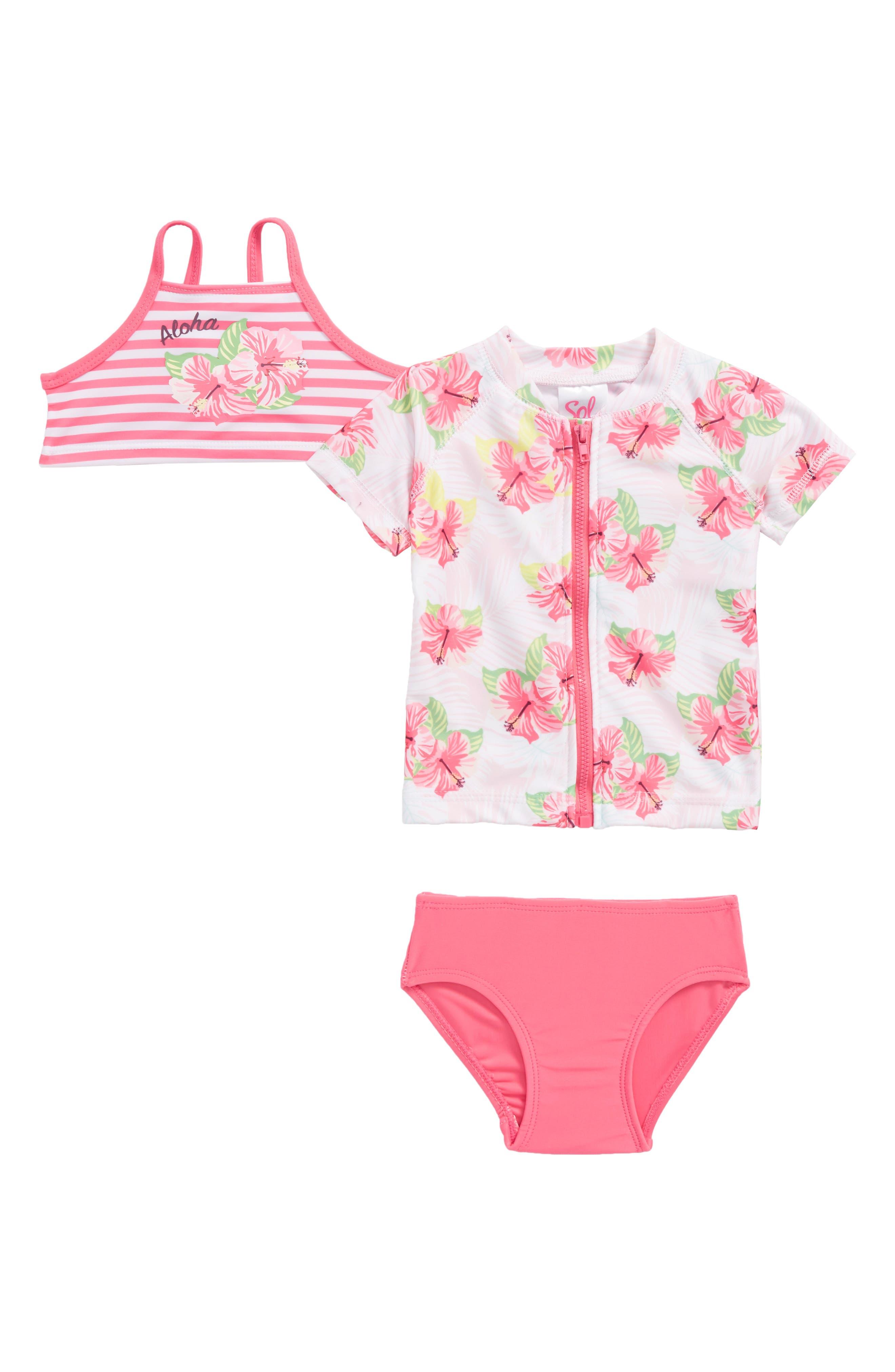 Honolulu Two-Piece Swimsuit with Rashguard,                             Main thumbnail 1, color,                             Pink Multi