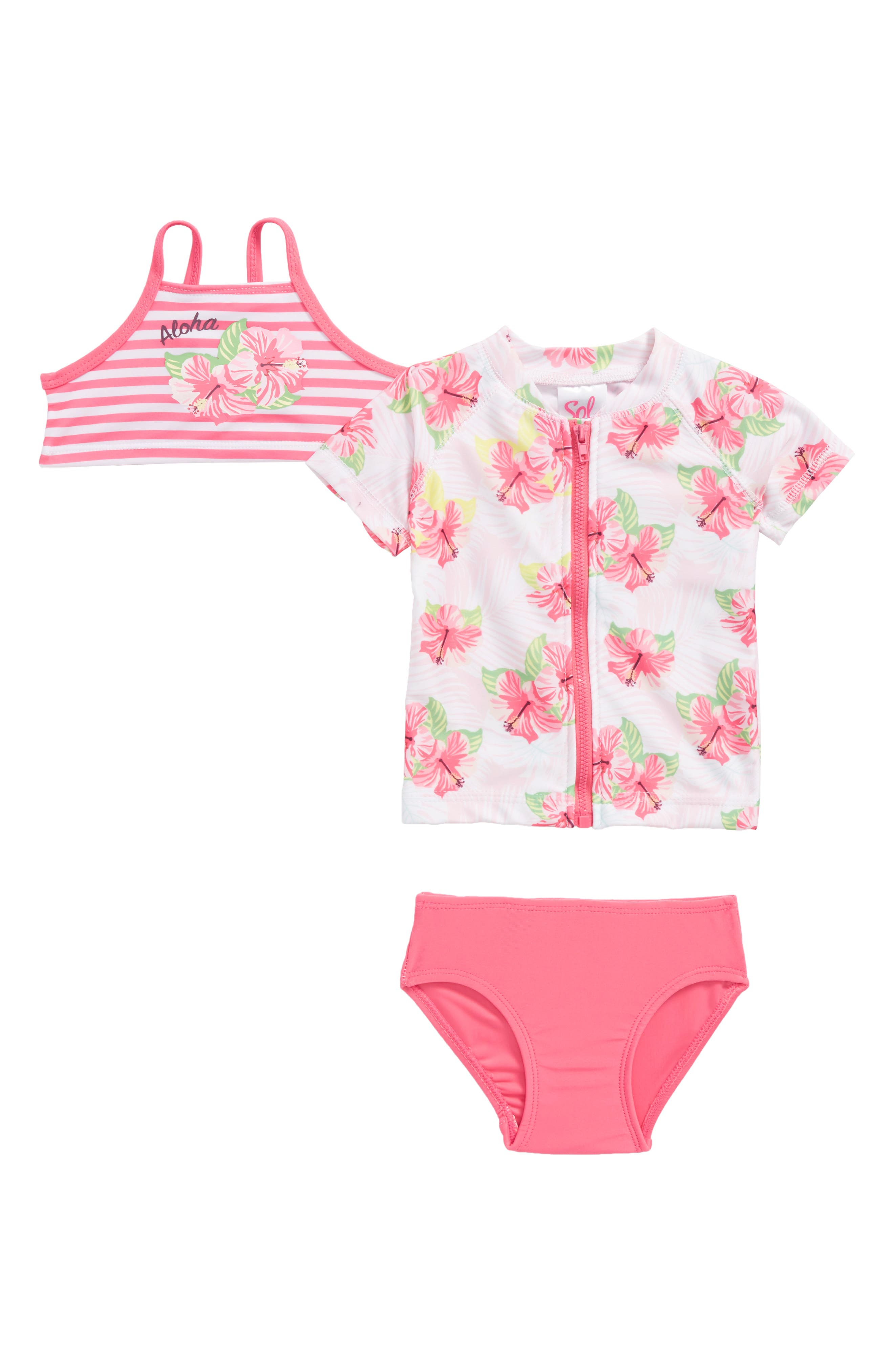 Main Image - Sol Swim Honolulu Two-Piece Swimsuit with Rashguard (Baby Girls)