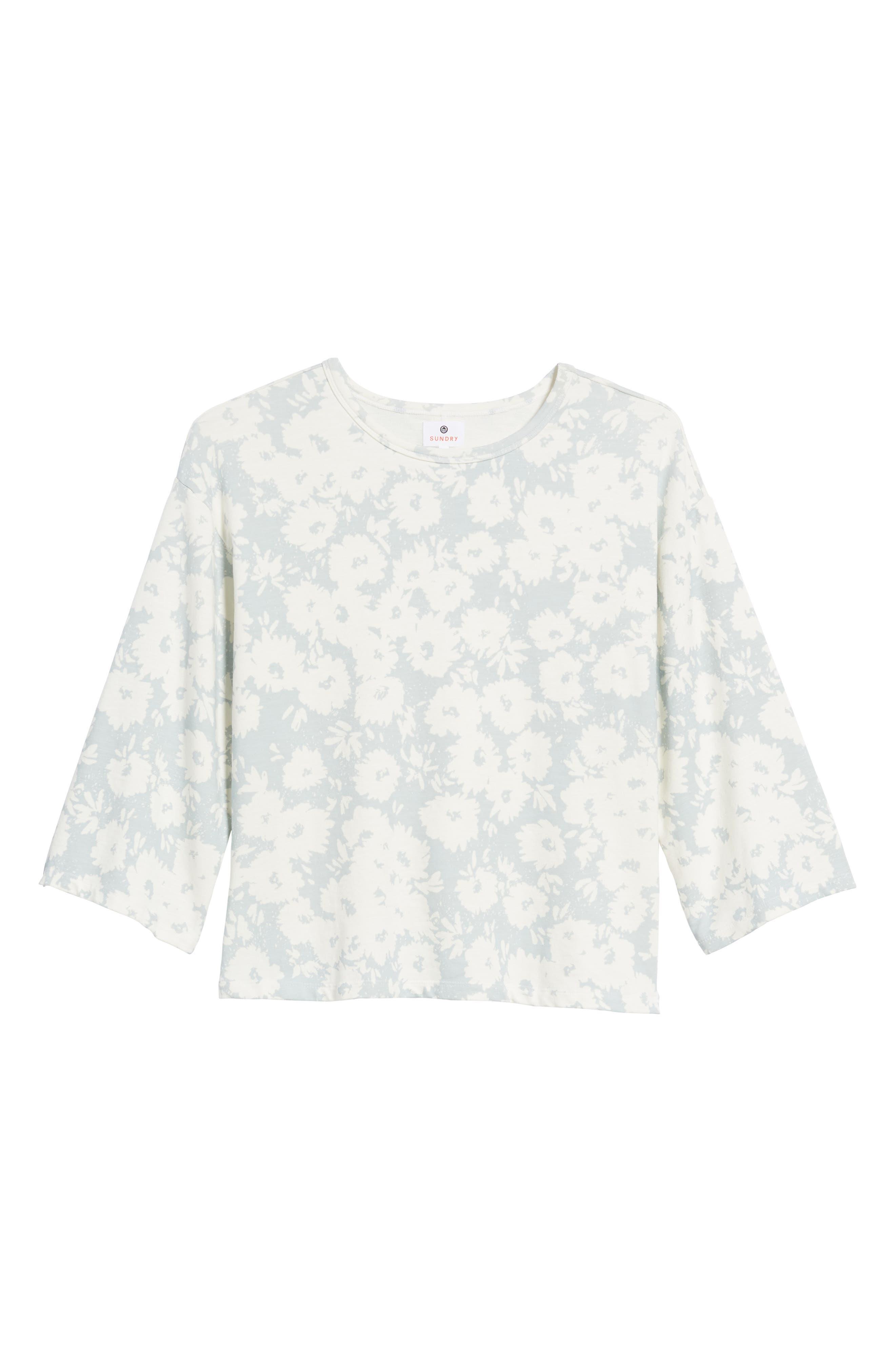 Kimono Sweatshirt,                             Alternate thumbnail 7, color,                             Sky/ White