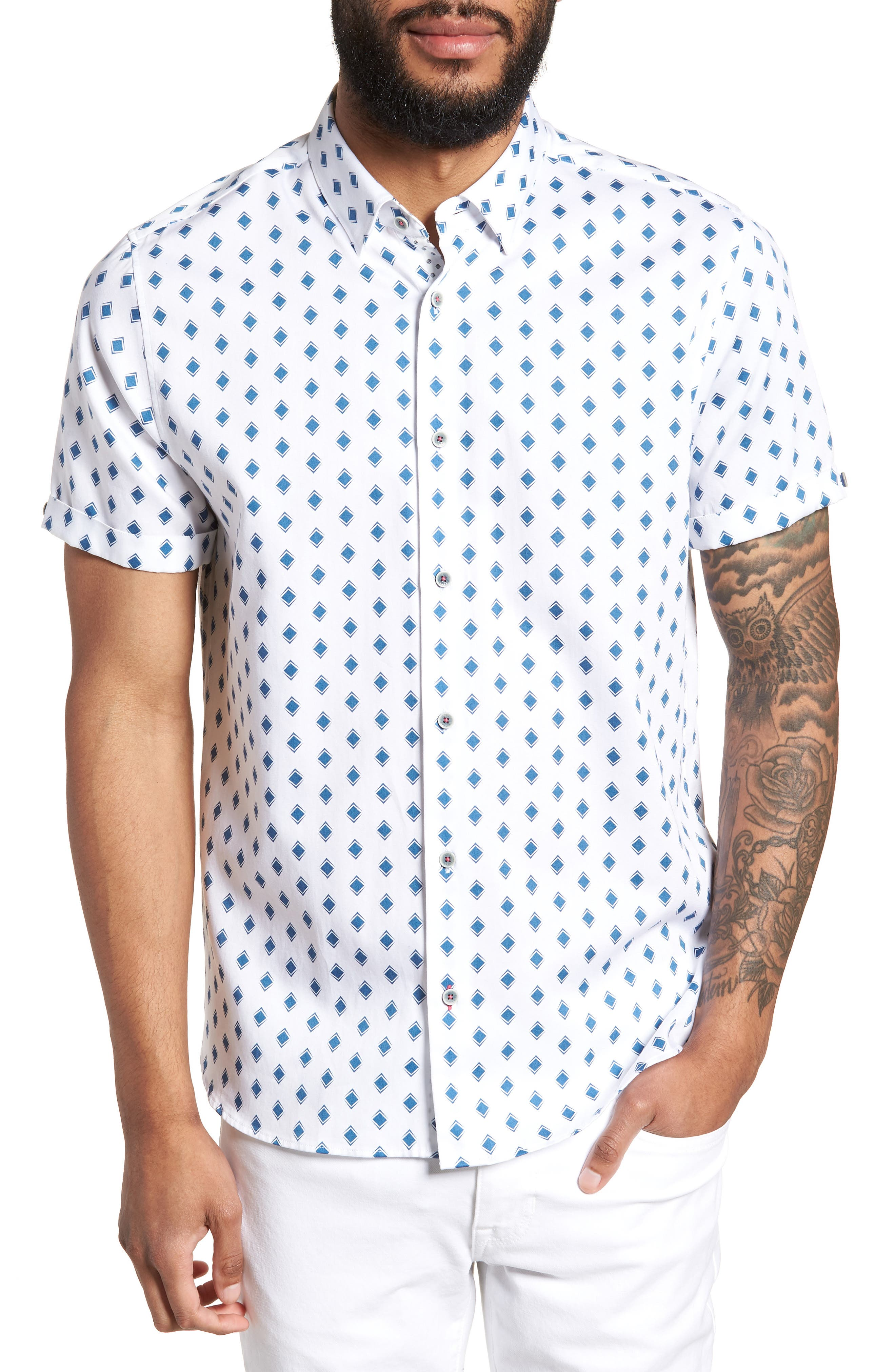 Sineral Trim Fit Short Sleeve Sport Shirt,                         Main,                         color, White