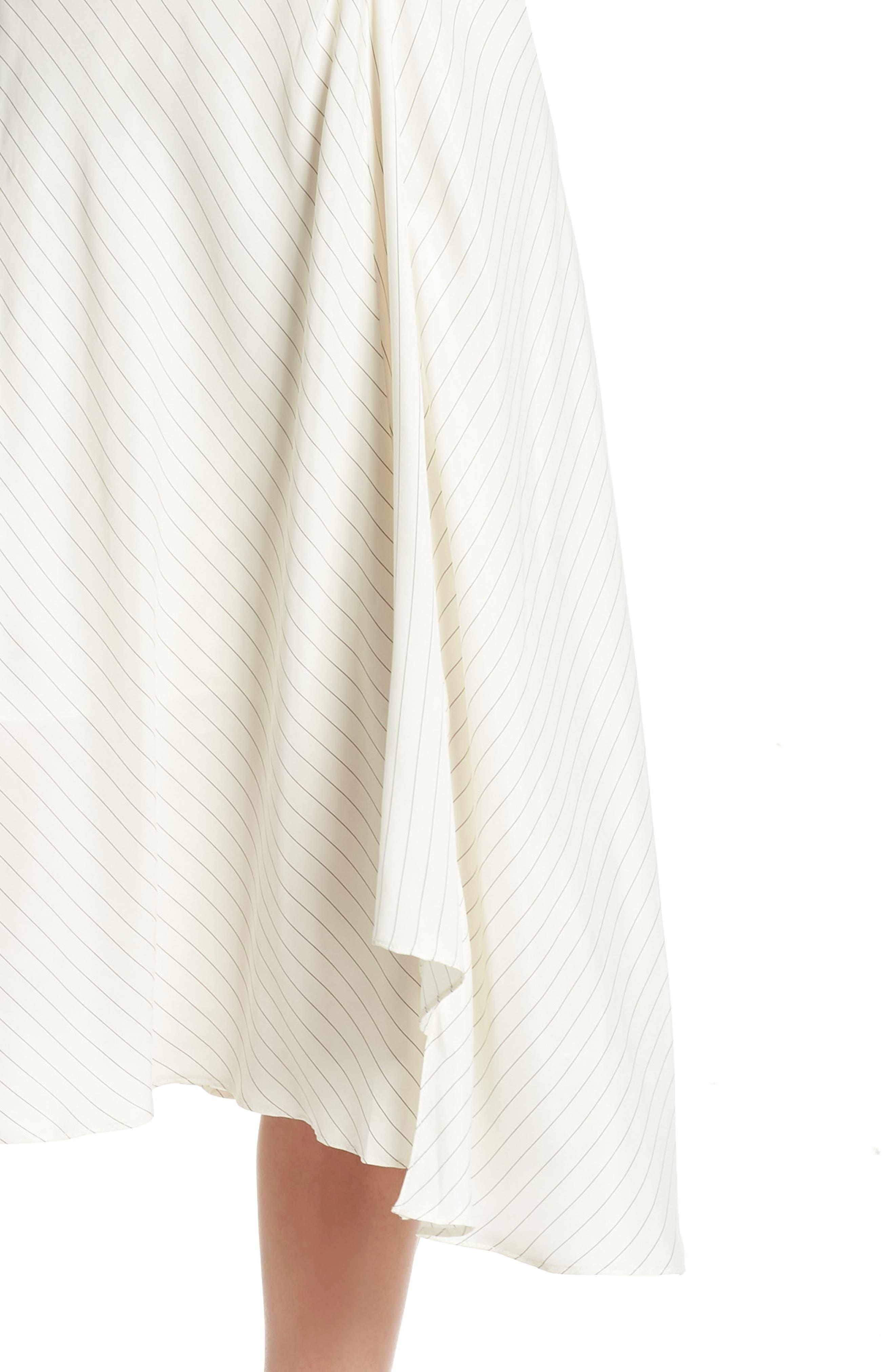 Bay Area Pinstripe Asymmetric Midi Dress,                             Alternate thumbnail 4, color,                             Cream