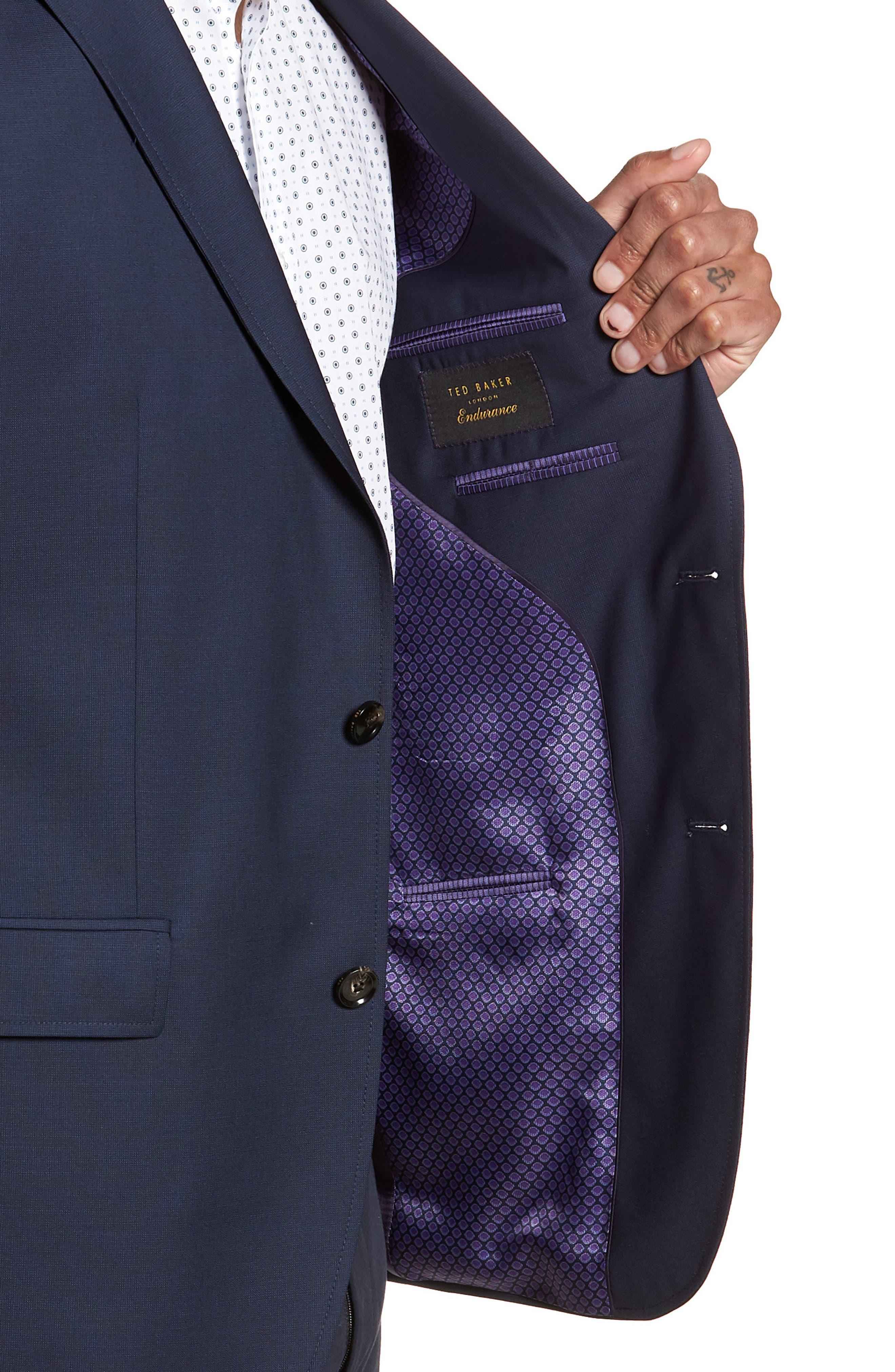 Trevi Trim Fit Wool Blazer,                             Alternate thumbnail 4, color,                             Navy
