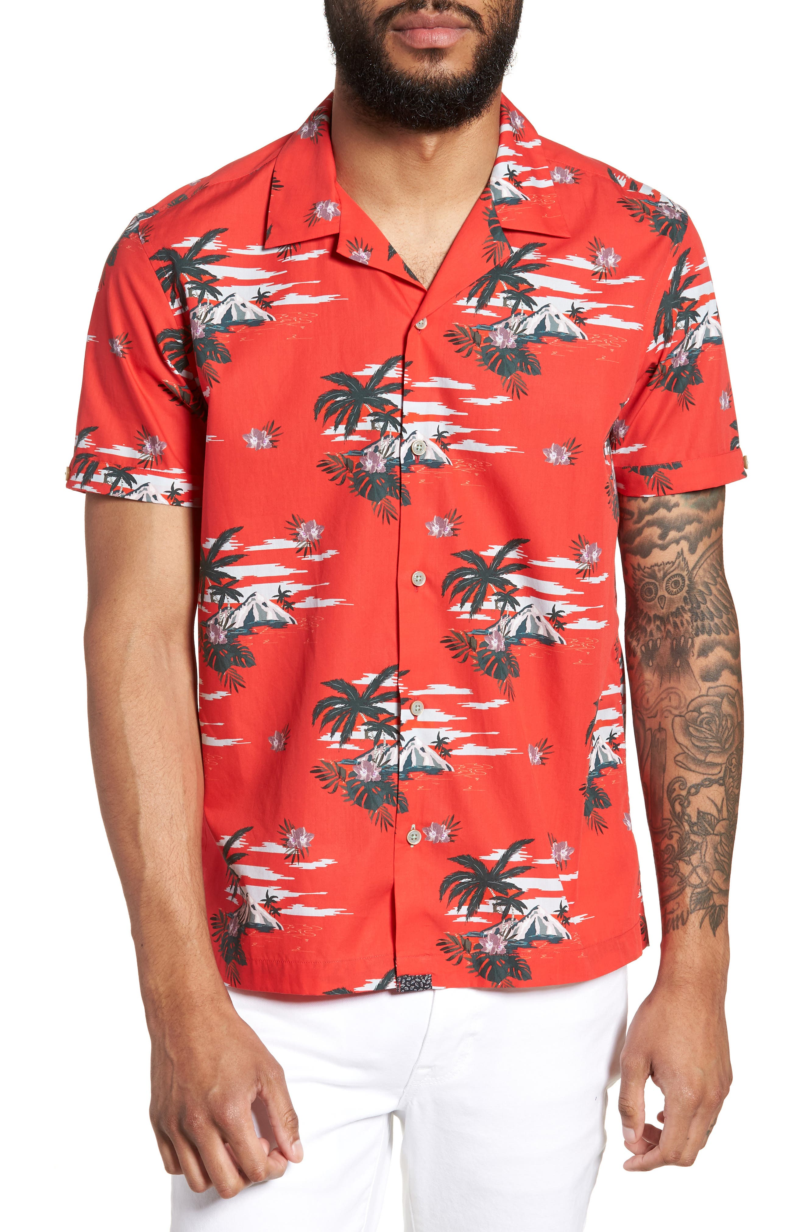 Slim Fit Tropical Pattern Sport Shirt,                             Main thumbnail 1, color,                             Red