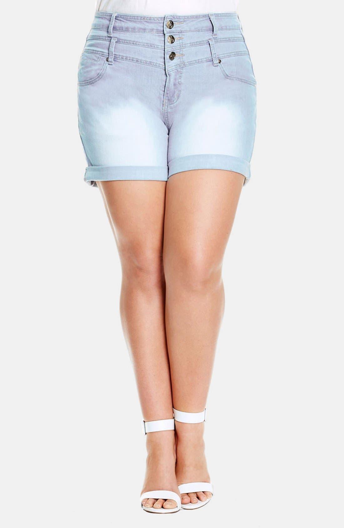 Main Image - City Chic High Waist Denim Shorts (Plus Size)