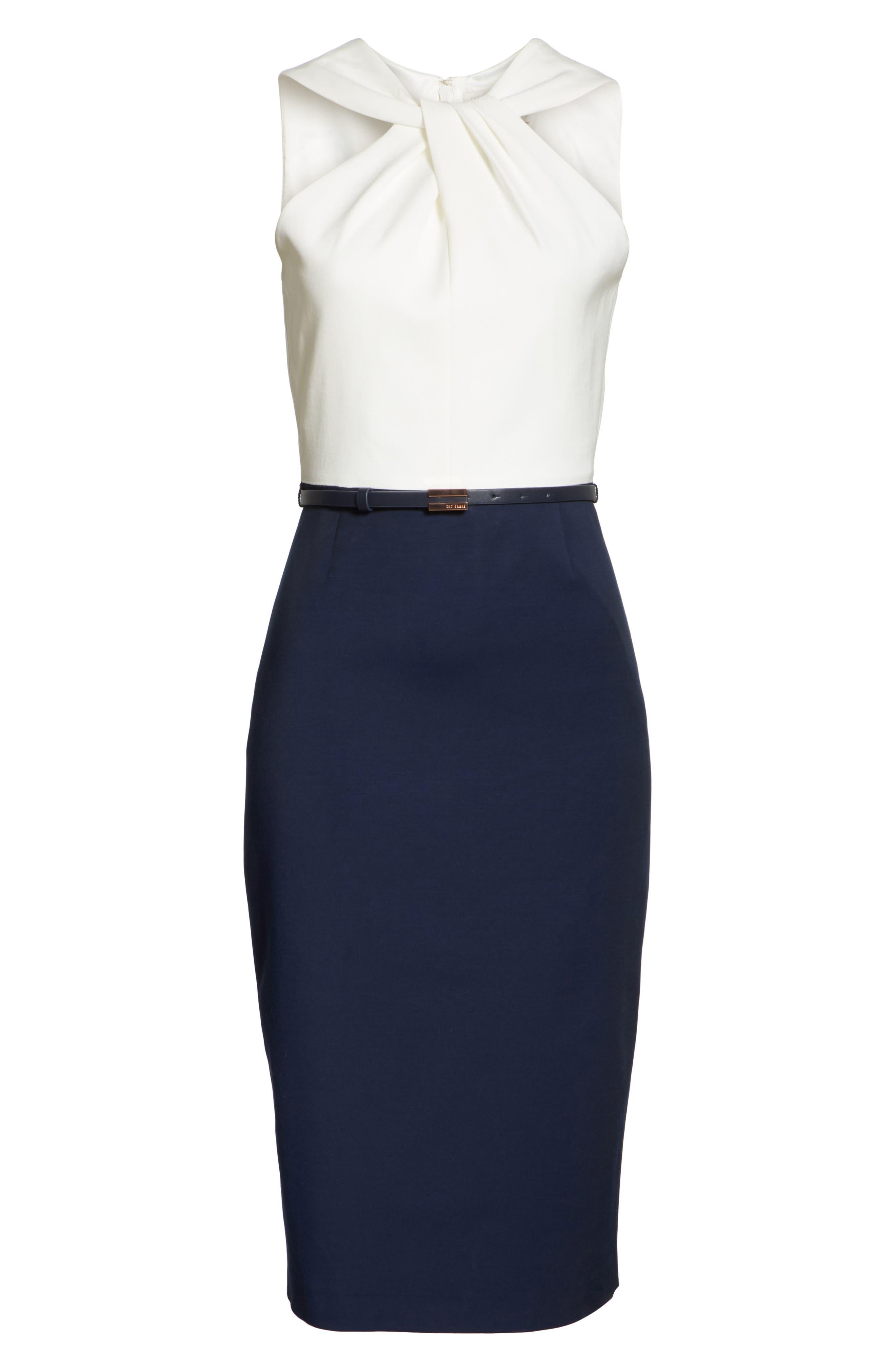 Twist Neck Belted Pencil Dress,                             Alternate thumbnail 6, color,                             Dark Blue
