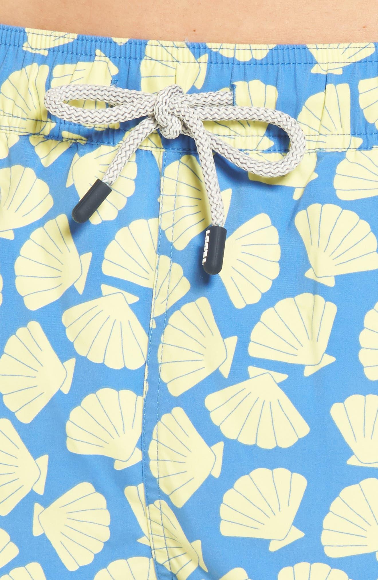 Shell Print Swim Trunks,                             Alternate thumbnail 4, color,                             Yellow