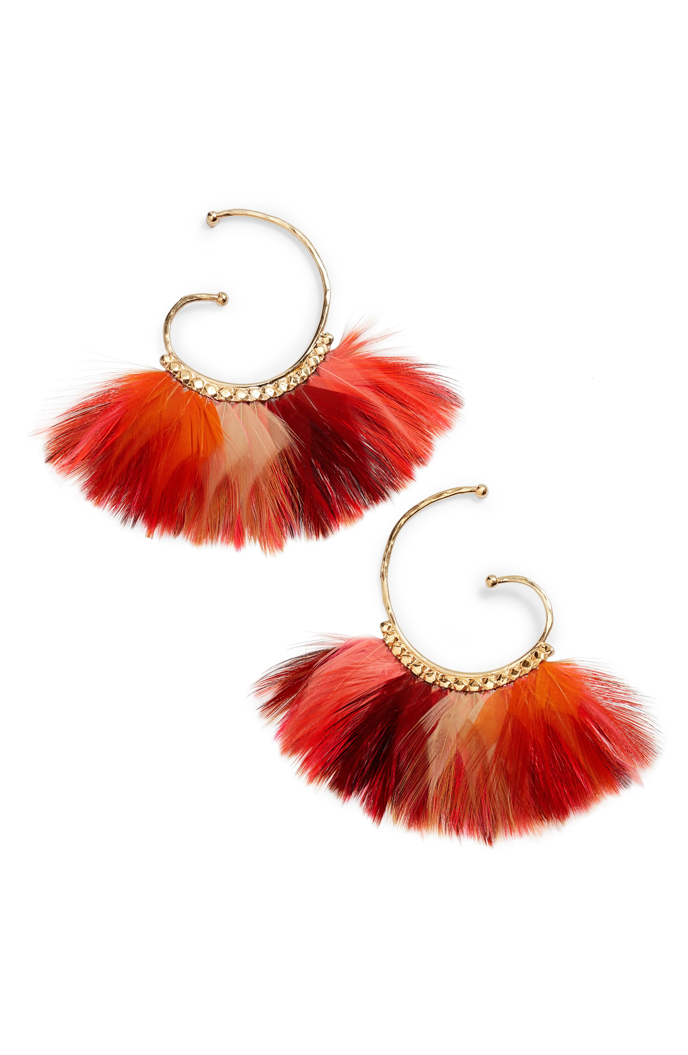 'Buzios' Feather Earrings,                             Main thumbnail 1, color,                             Neon Pink
