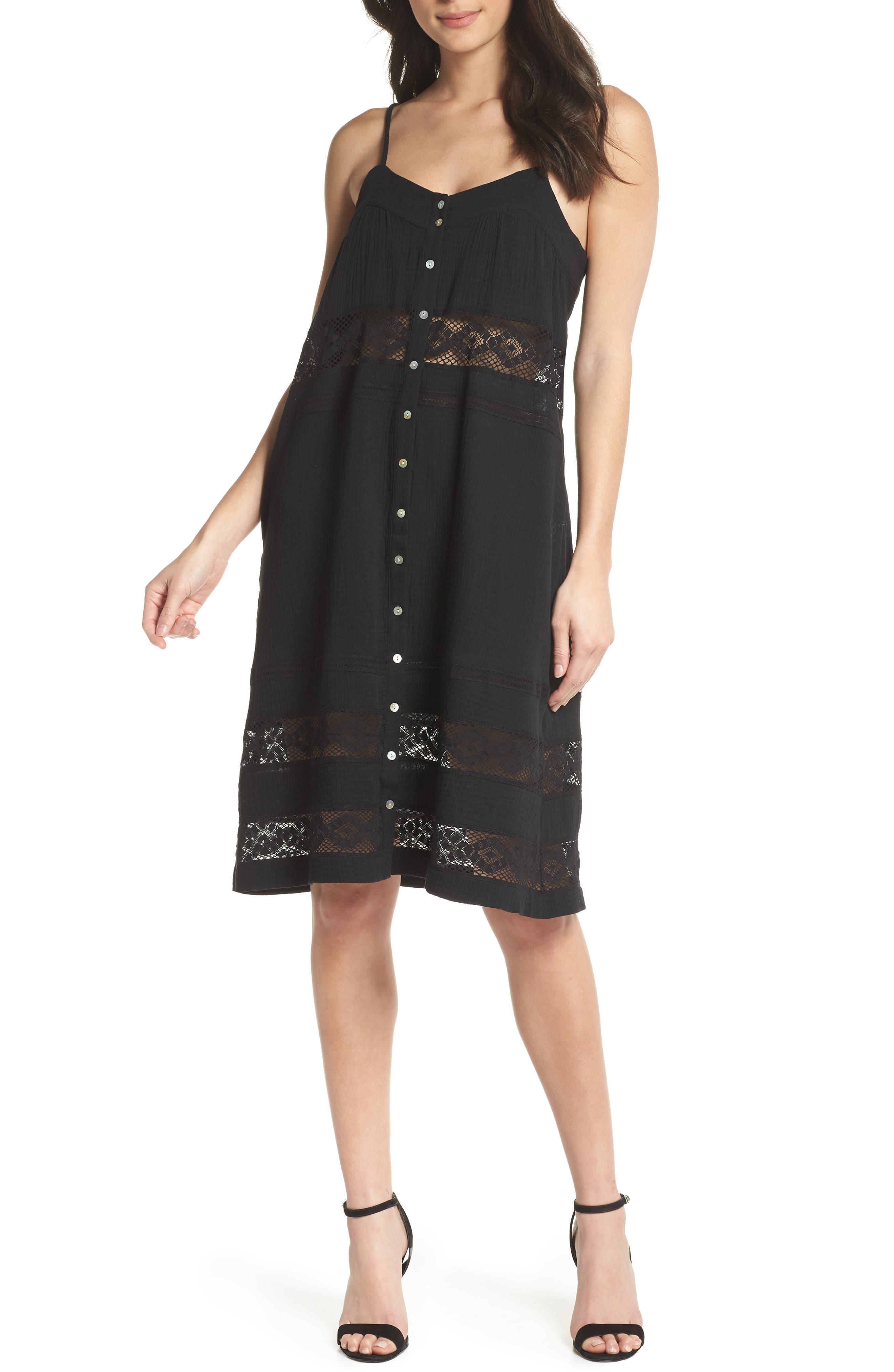 Annie Lace Trim Sundress,                         Main,                         color, Black